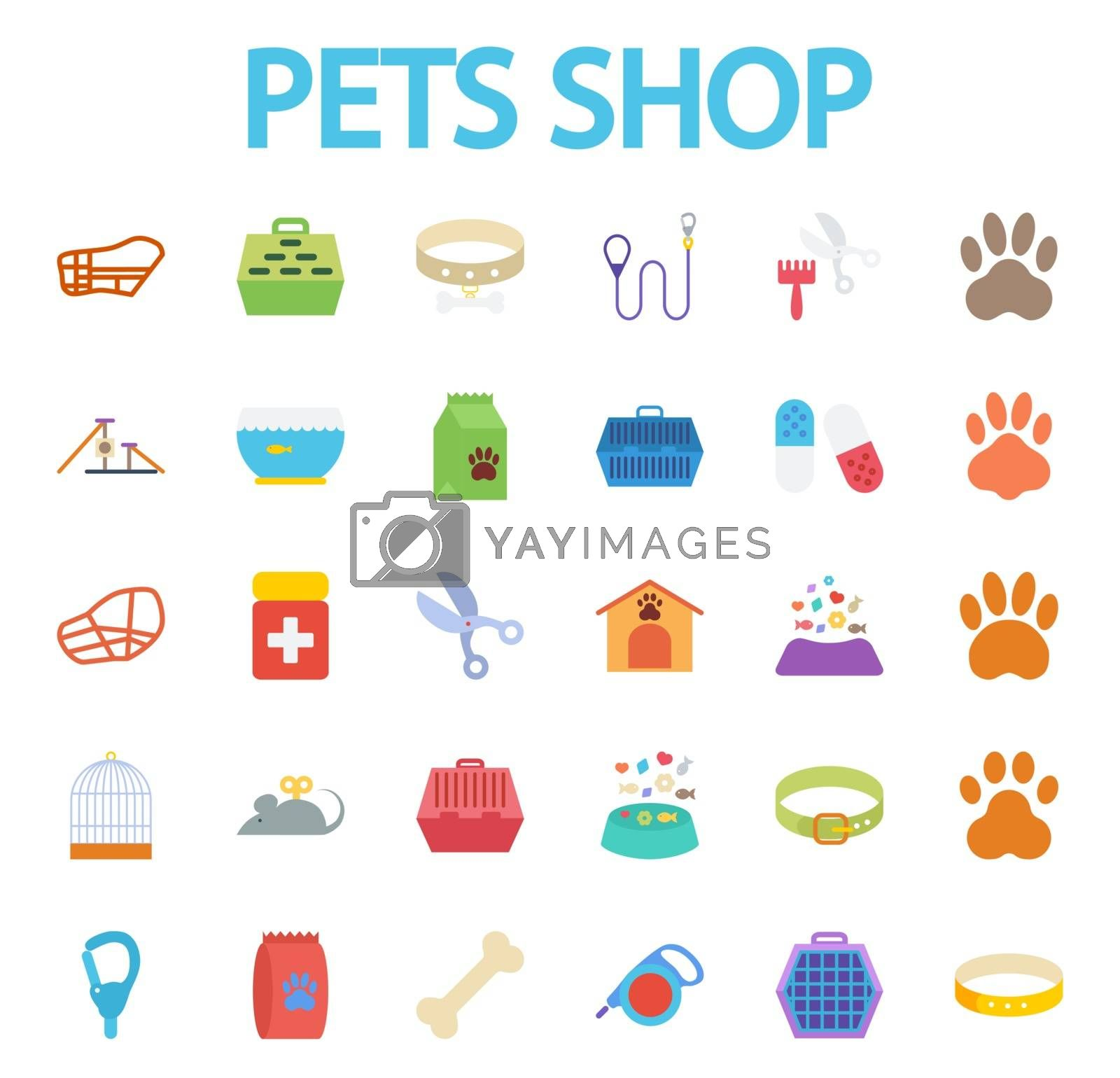 Pets shop icons set. Flat vector related icon set for web and mobile applications. It can be used as - logo, pictogram, icon, infographic element. Vector Illustration.i