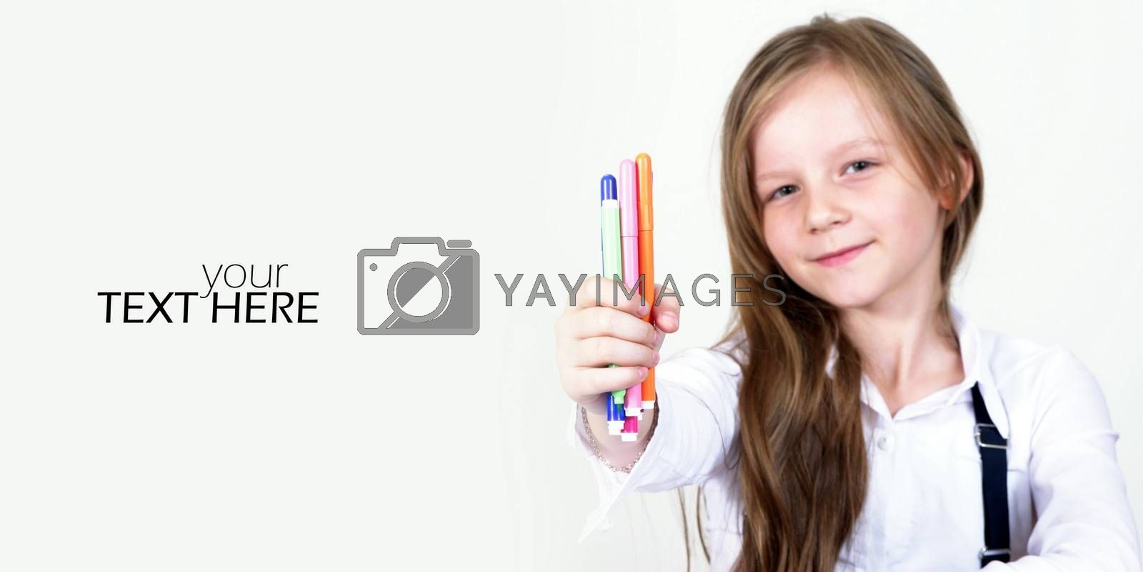 Small pupil girl with the copy space