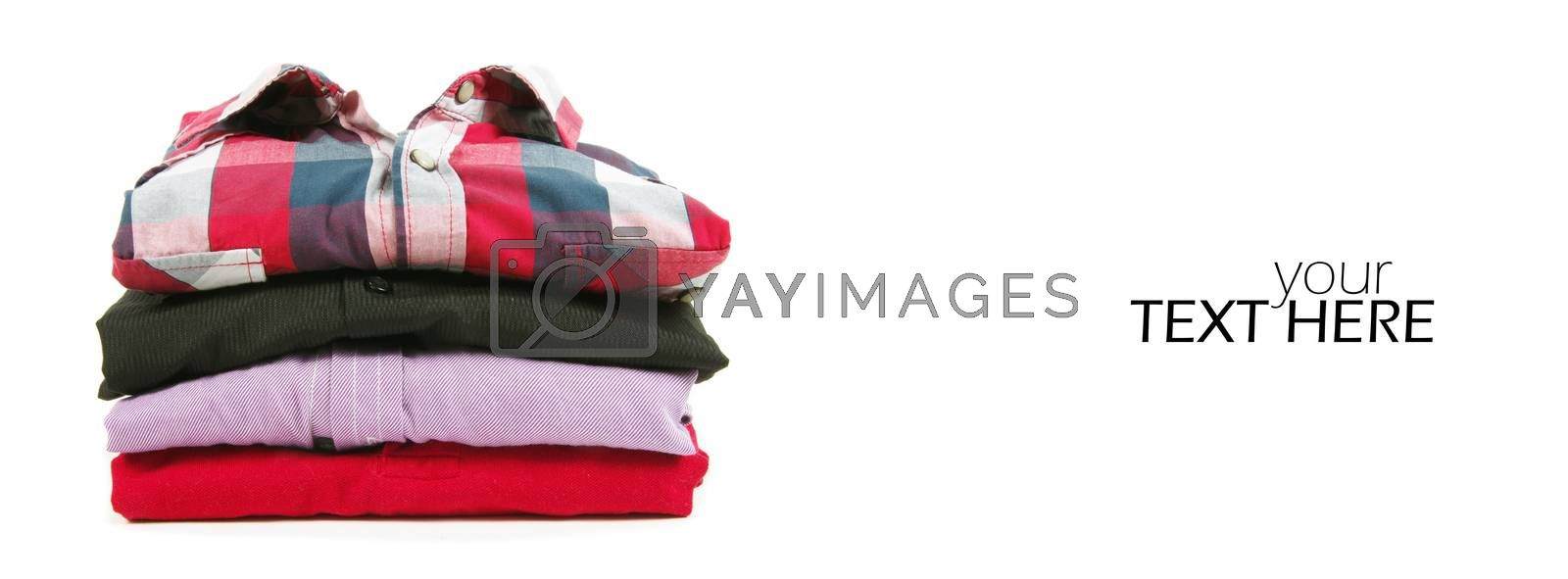 Stack of red shirts  on the white