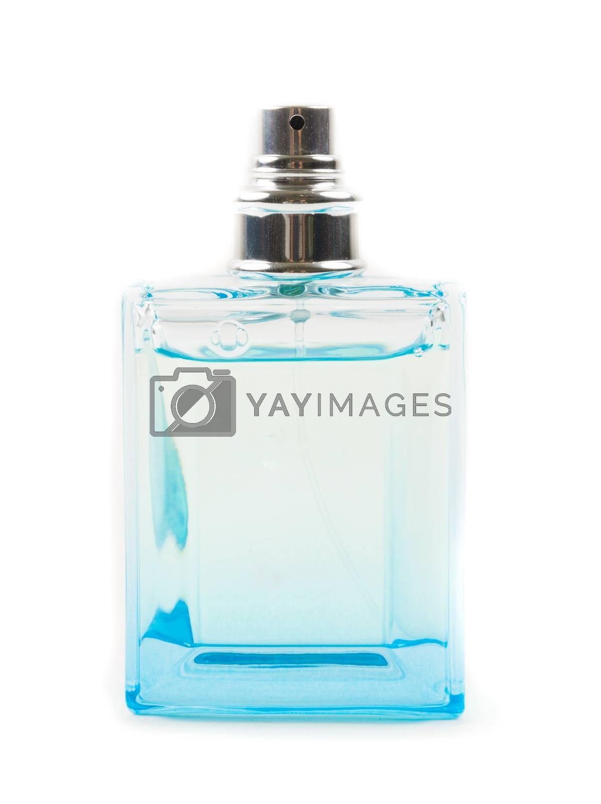 Bottle of perfume on the white background