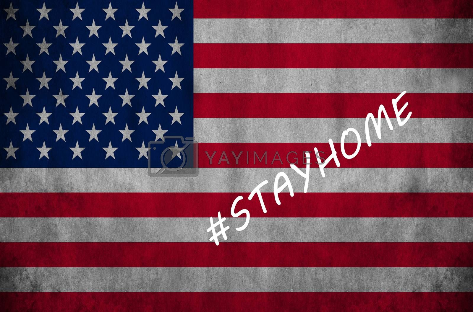 Flag with the stayhome saying