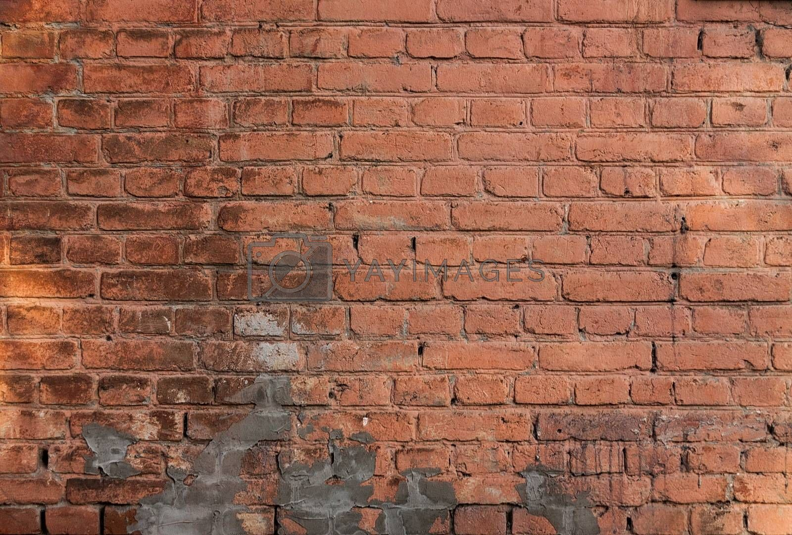 Closeup of the old brick wall