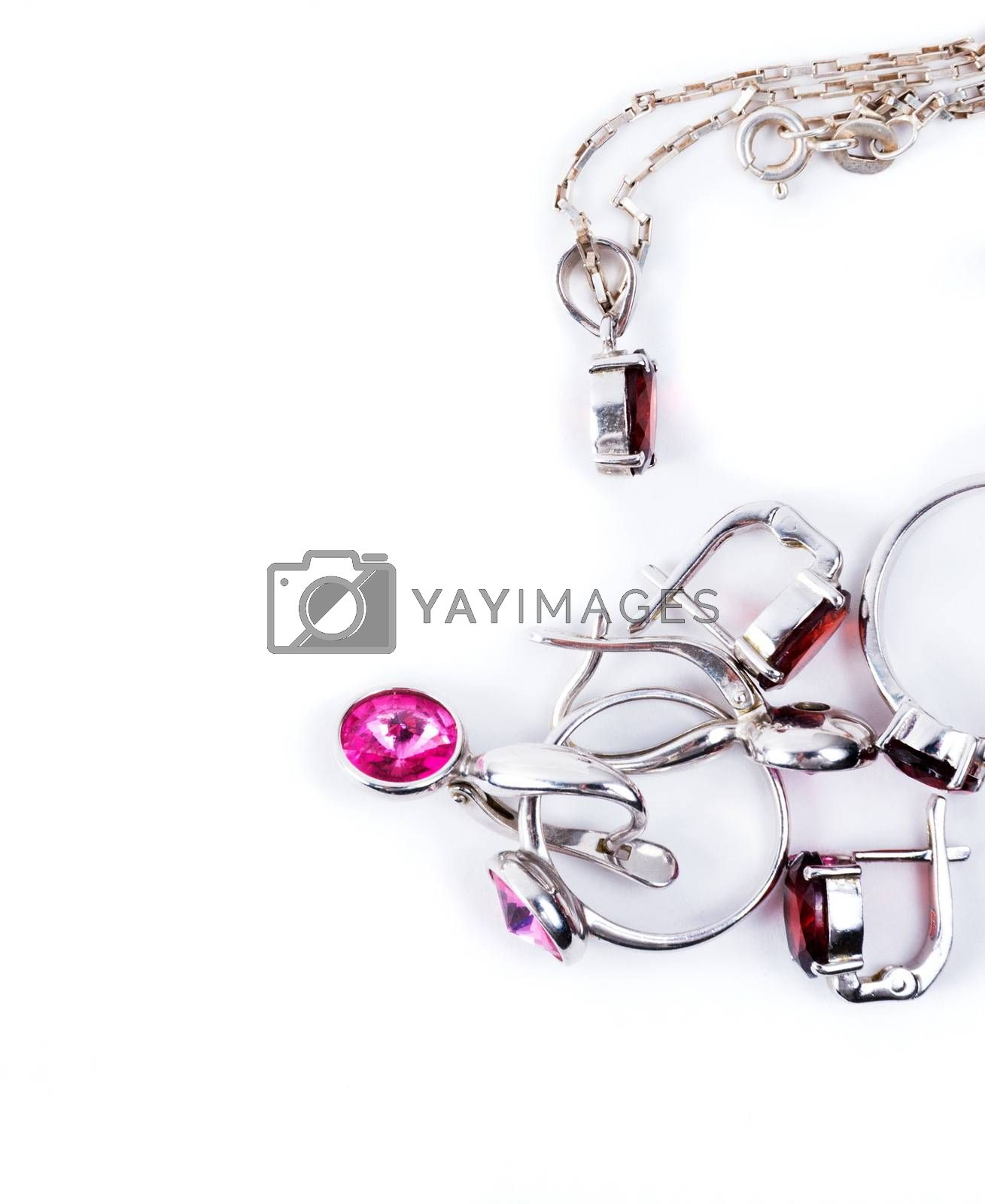 Jewelry with the ruby stones on the white