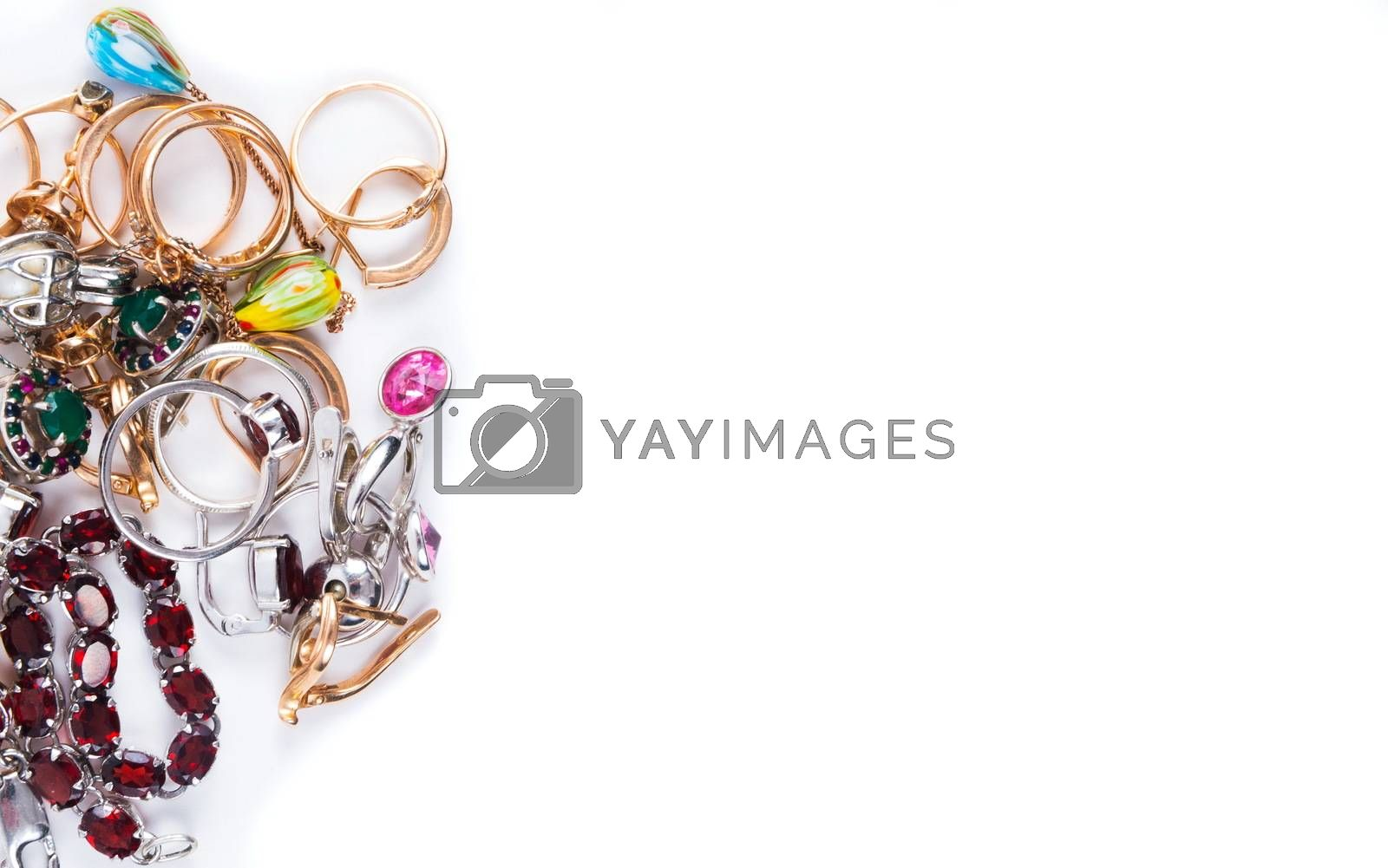 Various jewelry on the white background