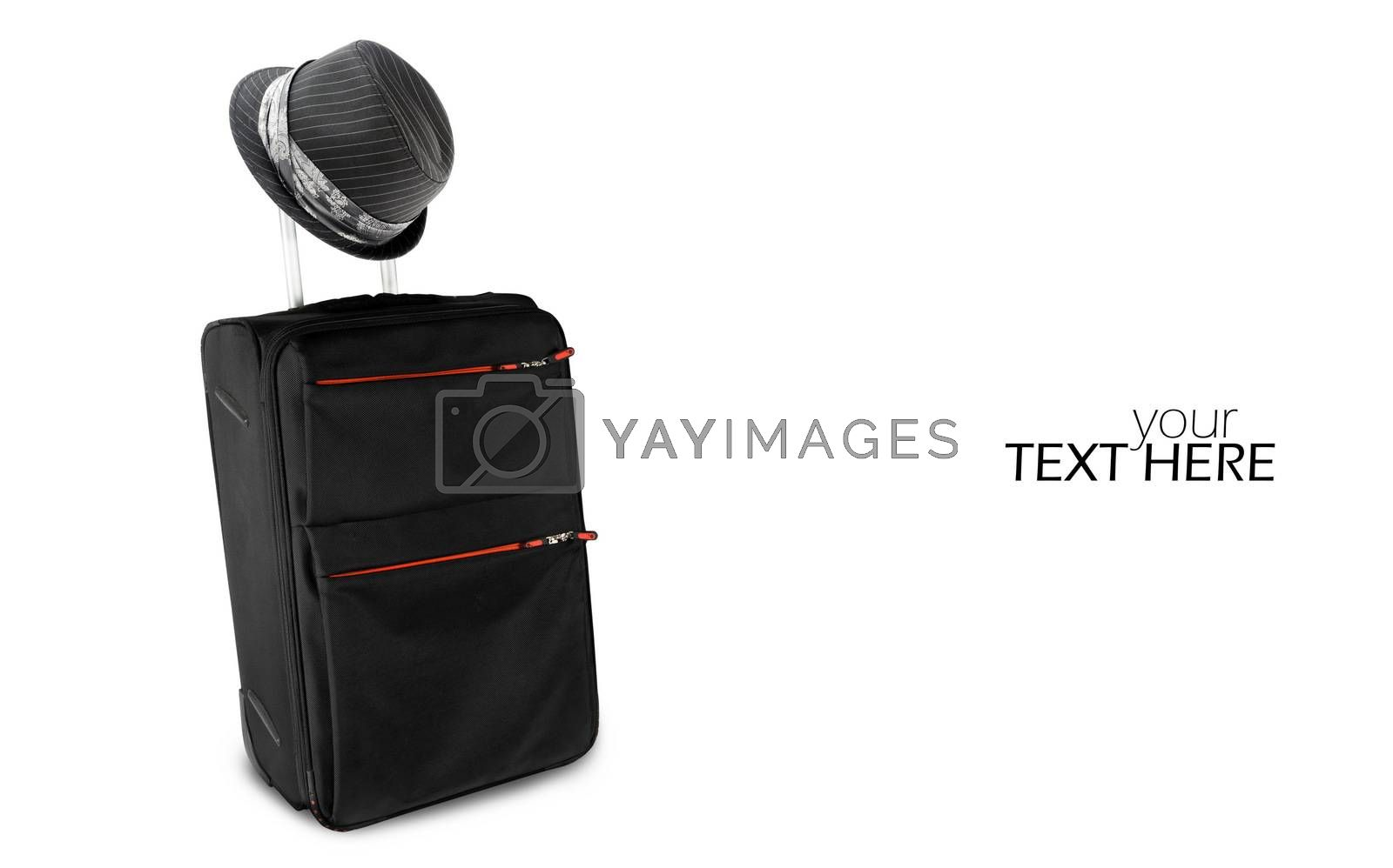 Suitcase with hat and copy space