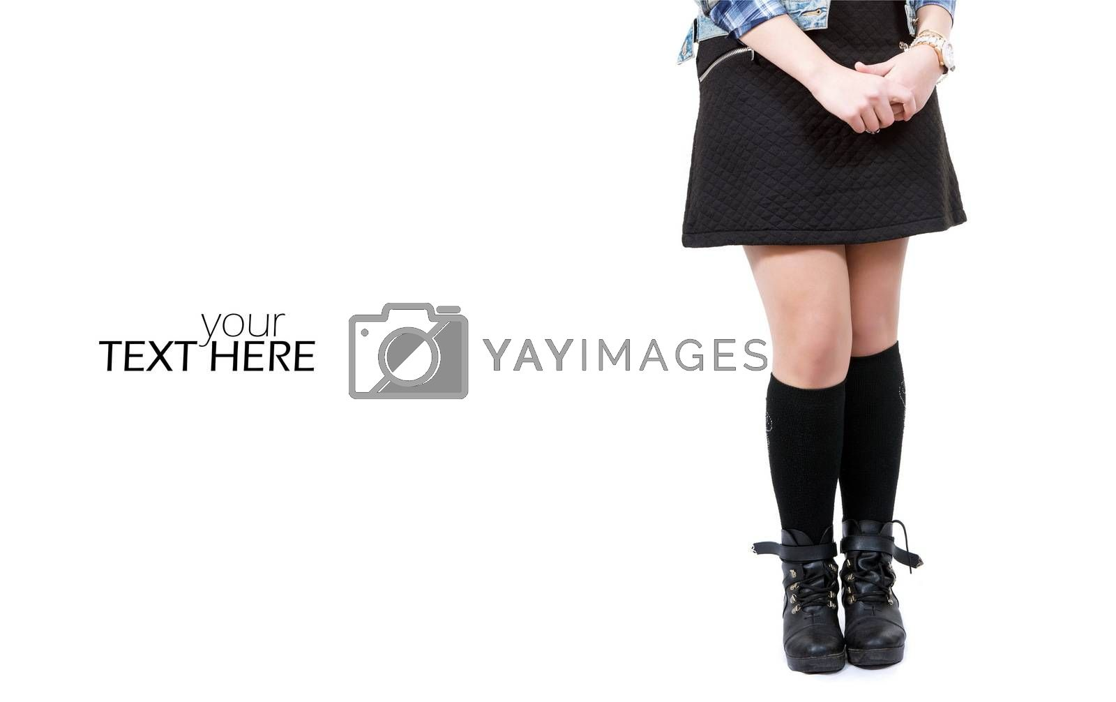 Girl in dress and boots with copy space