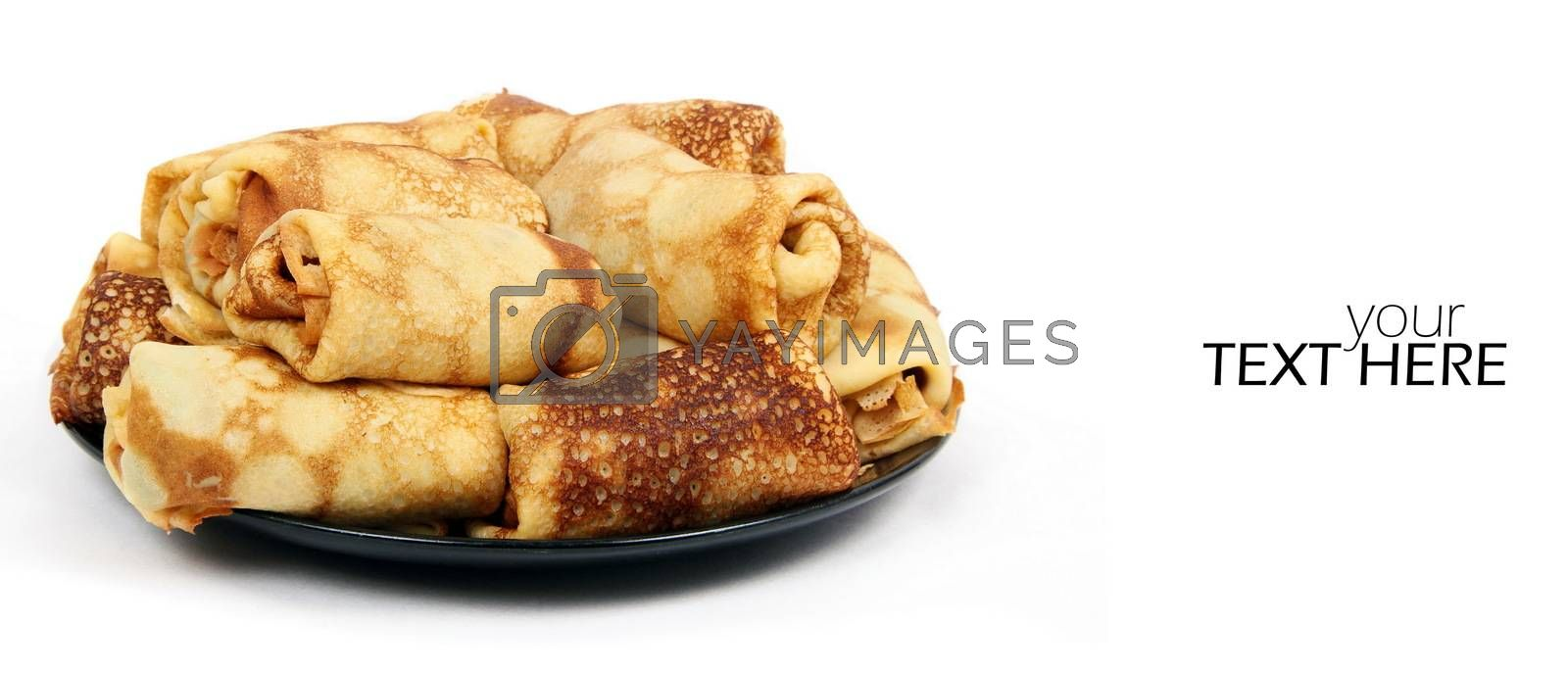 Meat pancakes wth the copy space