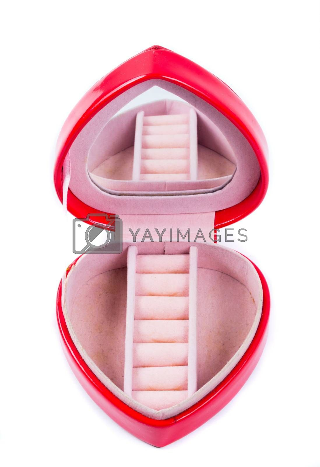 Red gift box in heart shape