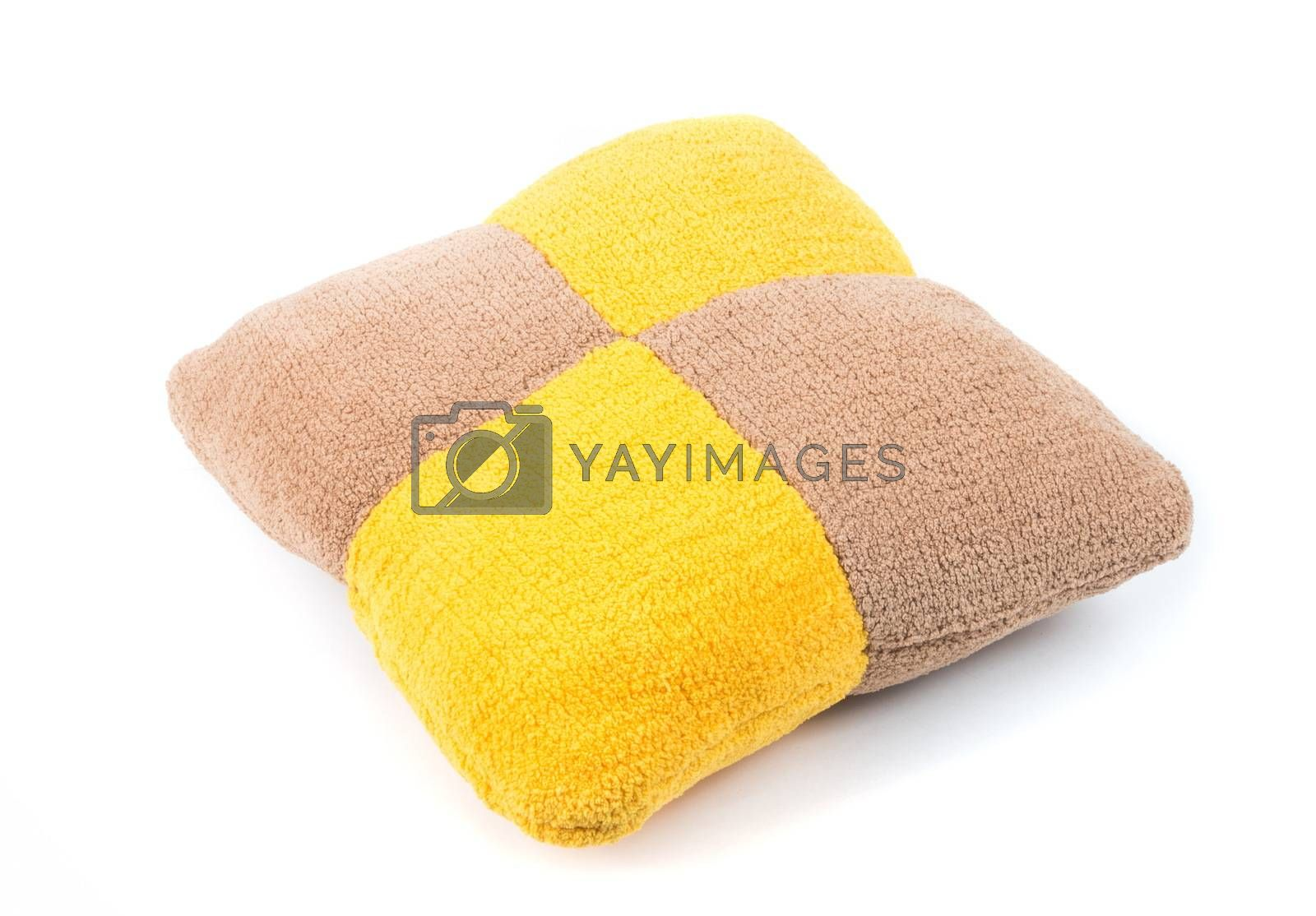 Colorful knitted pillow on the white