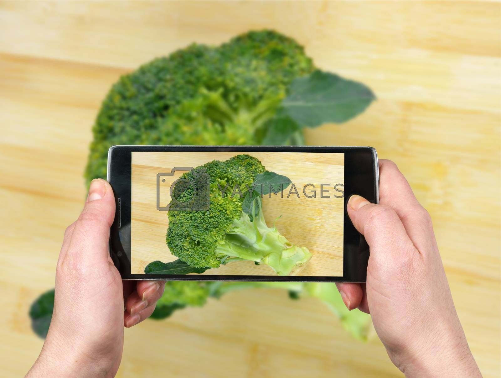 Taking picture with the phone. Brocolli