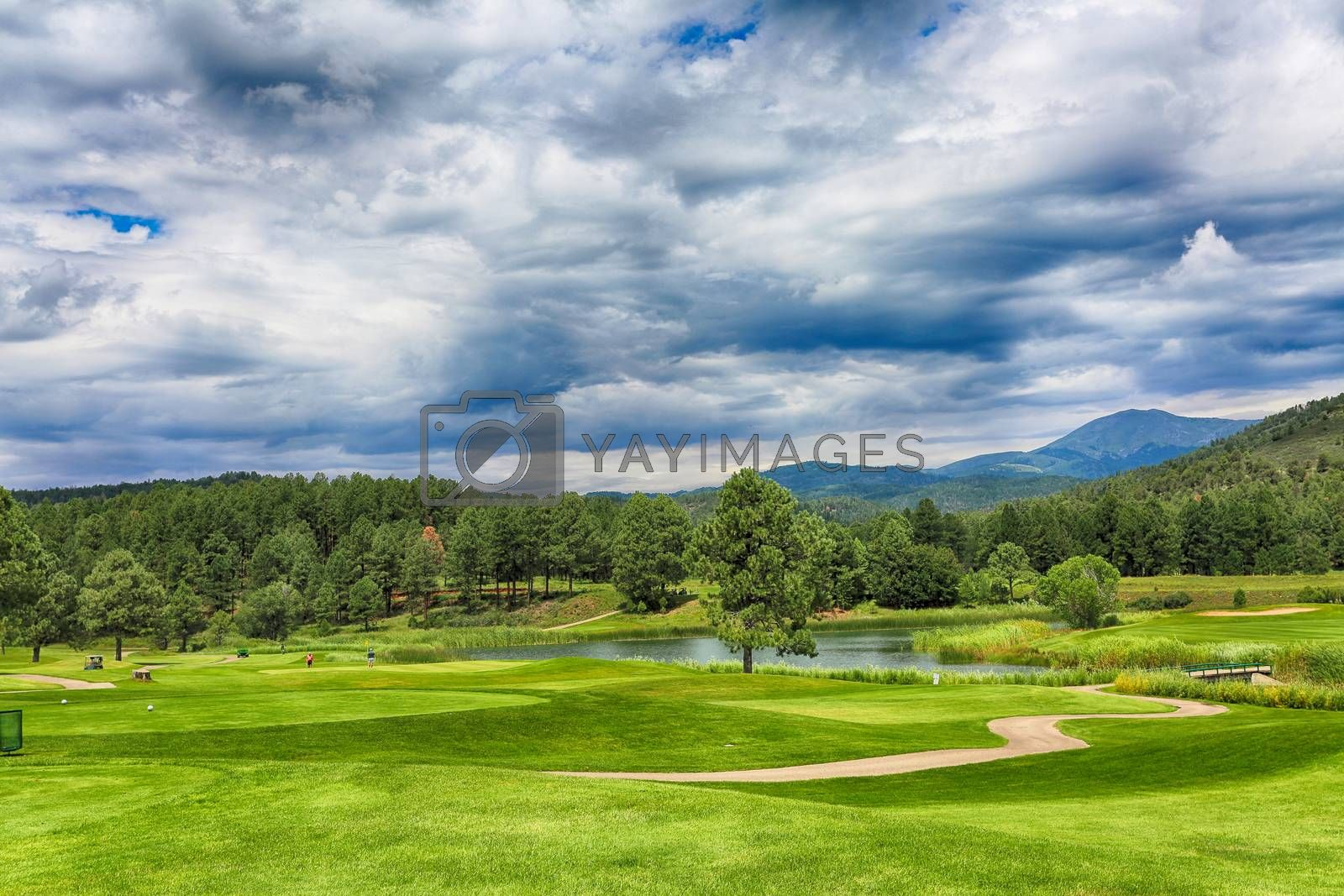 New Mexico's Inn of the Mountain Gods mountain resort, golf courses- one of the most spectacular golf courses in the country. HDR image.