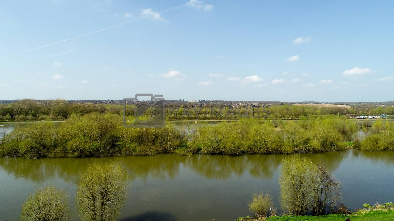 Aerial view of Thames River near Reading - Berkshire, United Kingdom in a spring sunny day - 14.04.2018