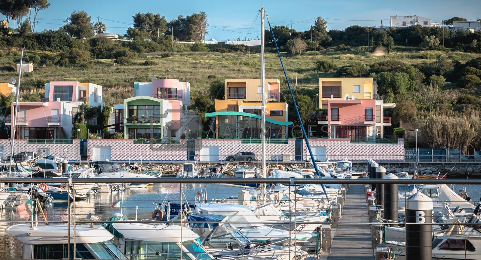 Albufeira, Portugal - May 3, 2018: view of the luxurious marina of Albufeira where are parked tourist boats on a spring day