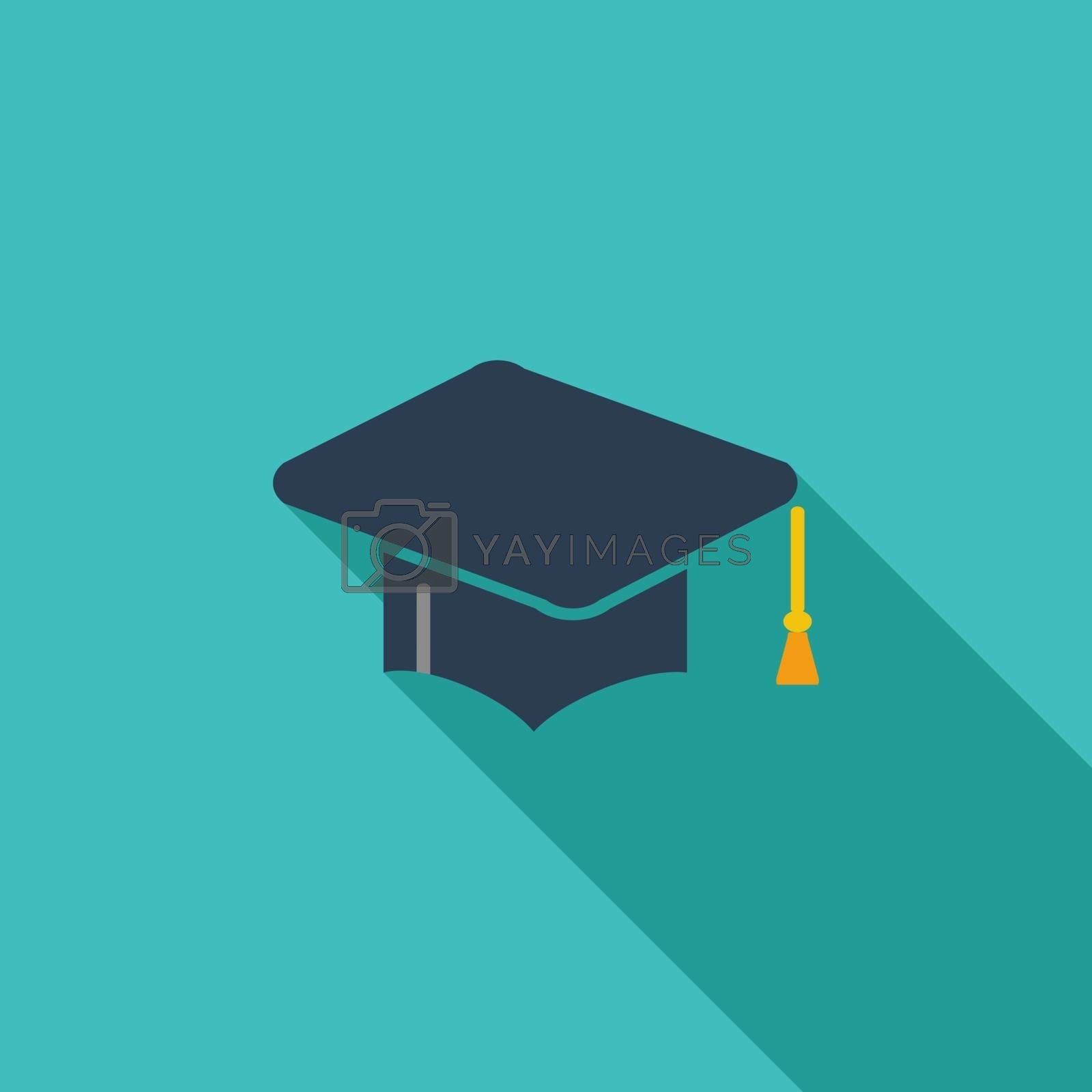 Education icon. Flat vector related icon with long shadow for web and mobile applications. It can be used as - logo, pictogram, icon, infographic element. Vector Illustration.