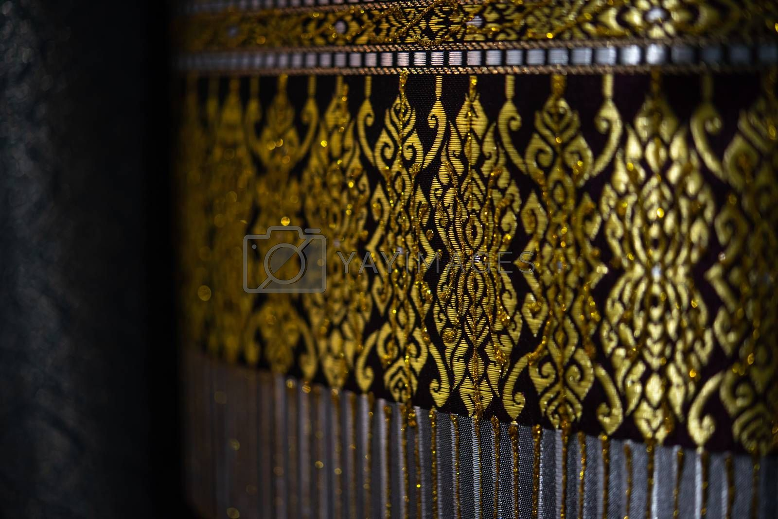 Bangkok, Thailand - December 21, 2019 : Silk fabric Thai and Asia style textured background it a Traditional silk cloth fabric crumpled in for show and sale in traditional fashion store