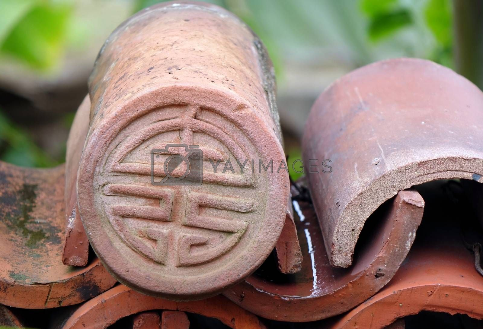 Kiln fired Chinese eave tile end with long life symbol
