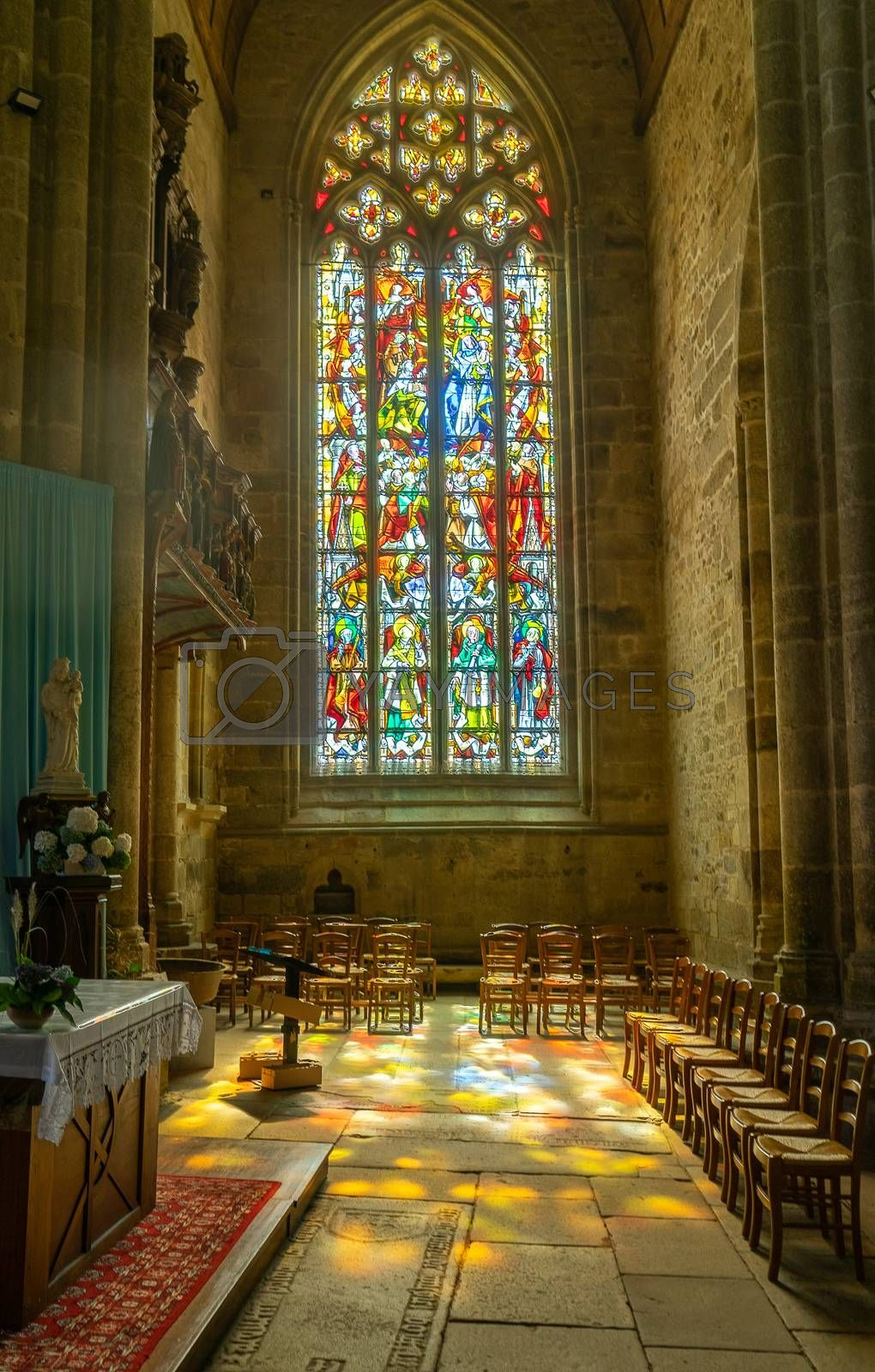 Colorfull window in church , pray and travel in france