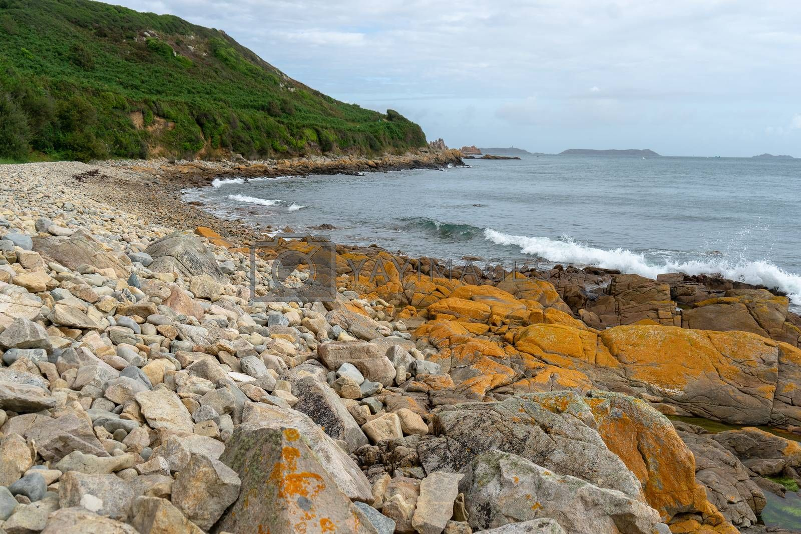Rose granit sea shore in Britanny travel and hiking