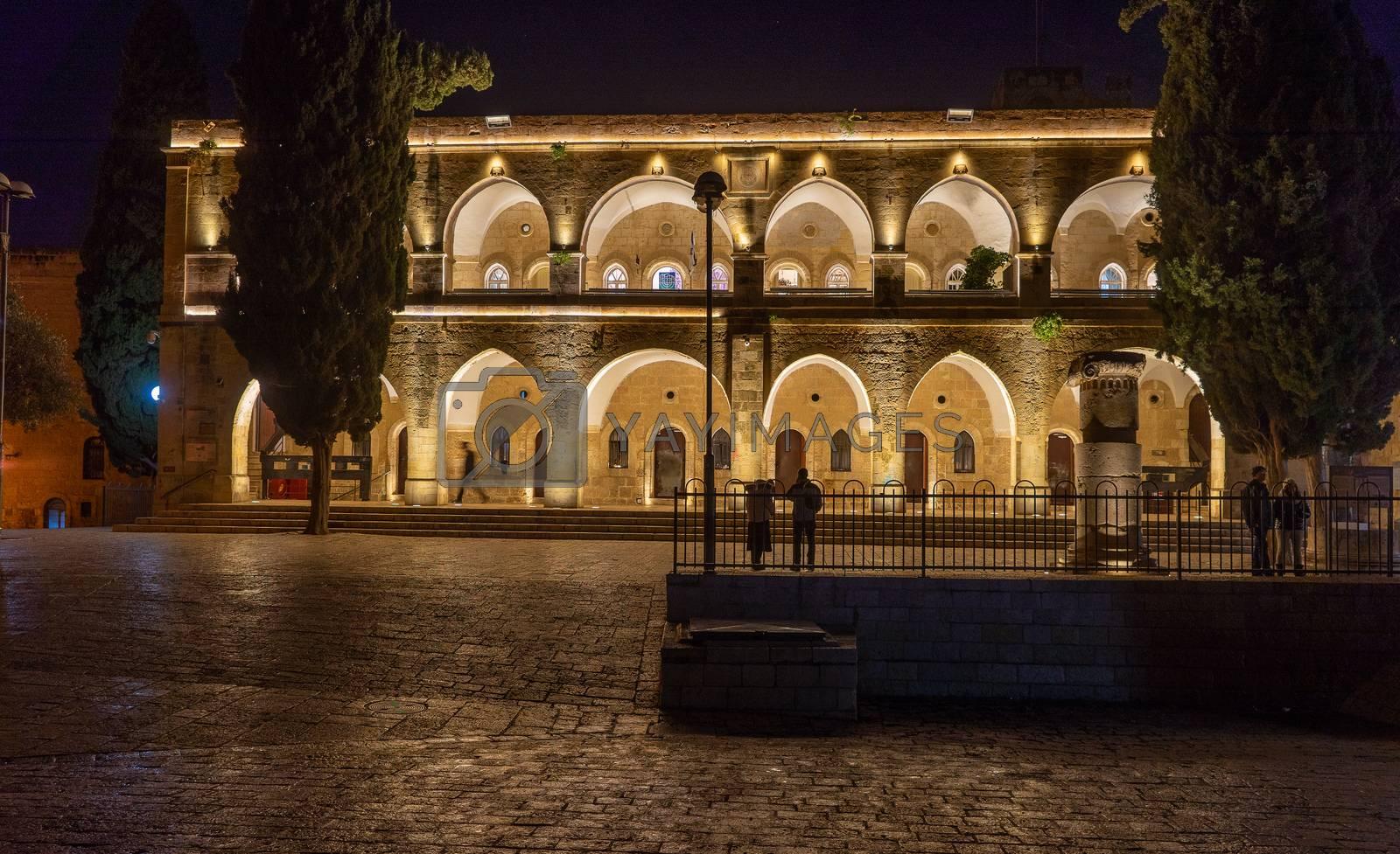 Night travel on old city jerusalem dark streets