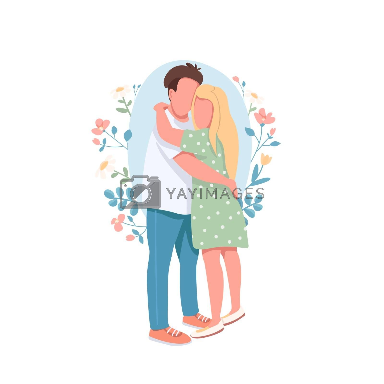 Happy couple flat concept vector illustration. Romantic relationship. Boyfriend embrace girlfriend. Family 2D cartoon characters for web design. Heterosexual couple cuddling creative idea