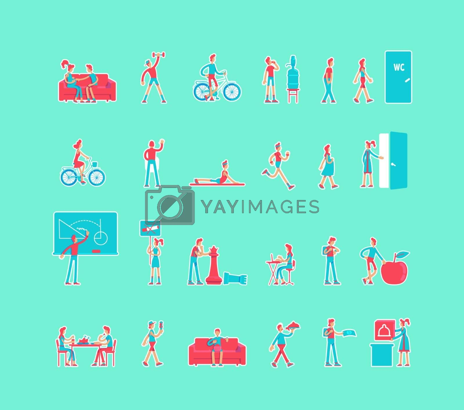 Healthy lifestyle cartoon vector characters set by ntl