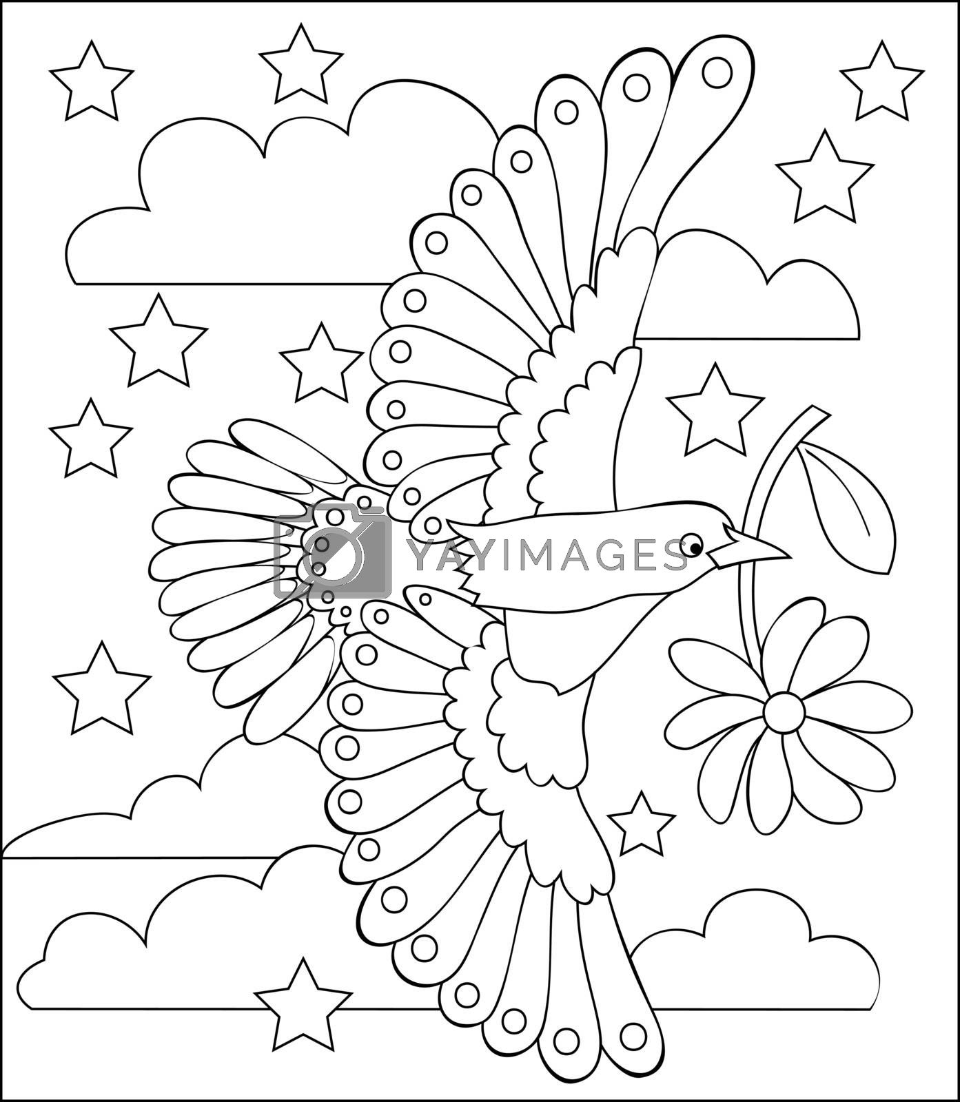 Page with black and white illustration of flying bird for coloring. Developing children skills for drawing. Vector image.