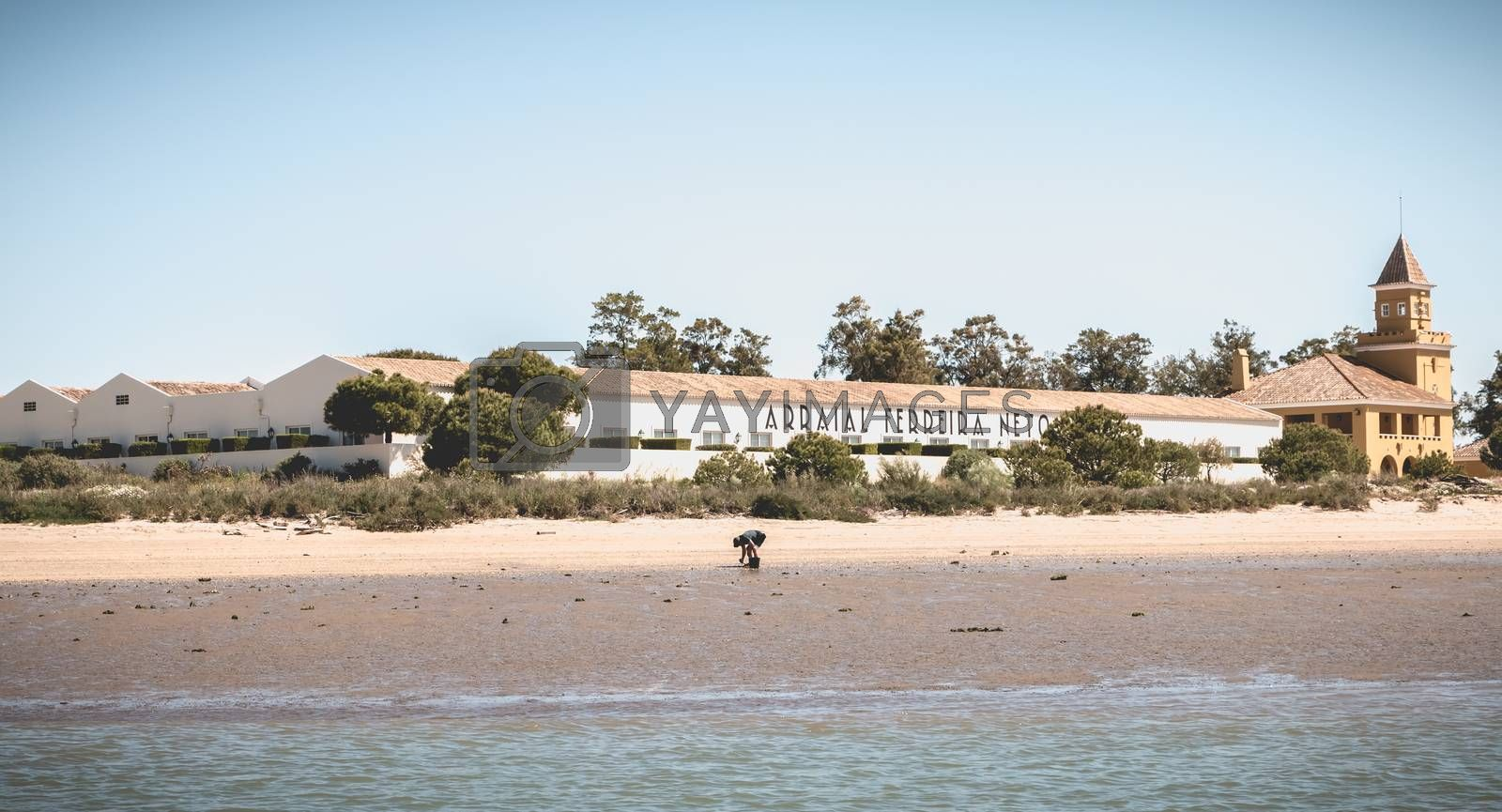 Tavira, Portugal - May 3, 2018: Shrimp fisherman with his bucket on a beach in Tavira Bay on a spring day