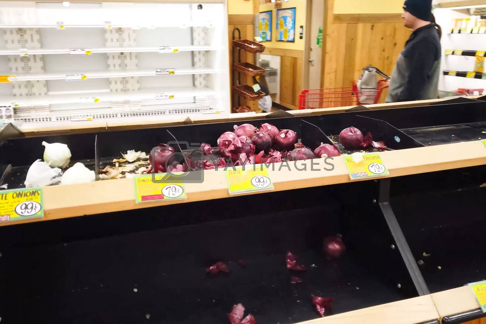 New York, USA - April 2, 2020: Empty shelves with groceries in supermarkets because of the panic from the coronavirus.