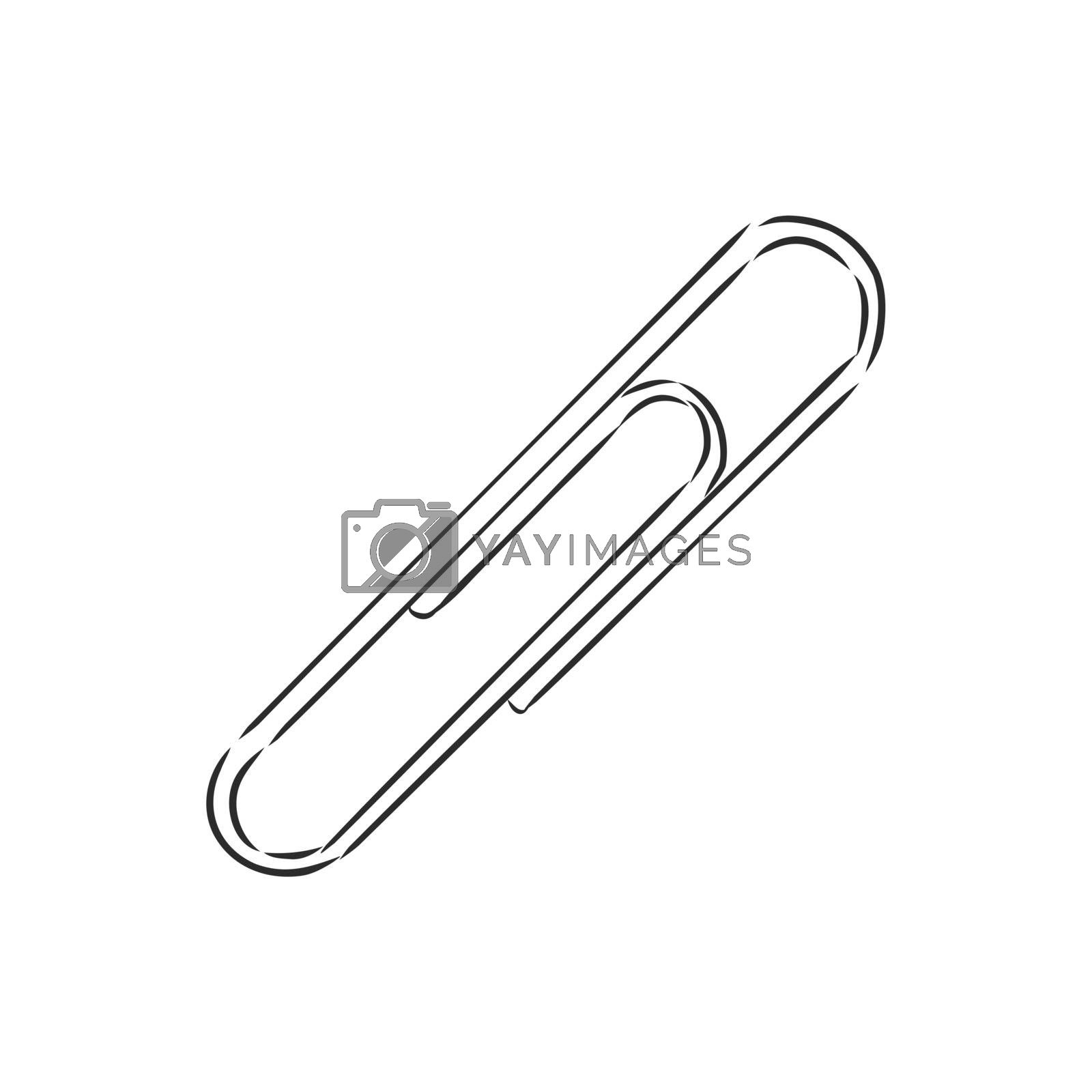 Paper clip symbol. Isolated sketch icon pictogram. Eps 10 vector illustration.