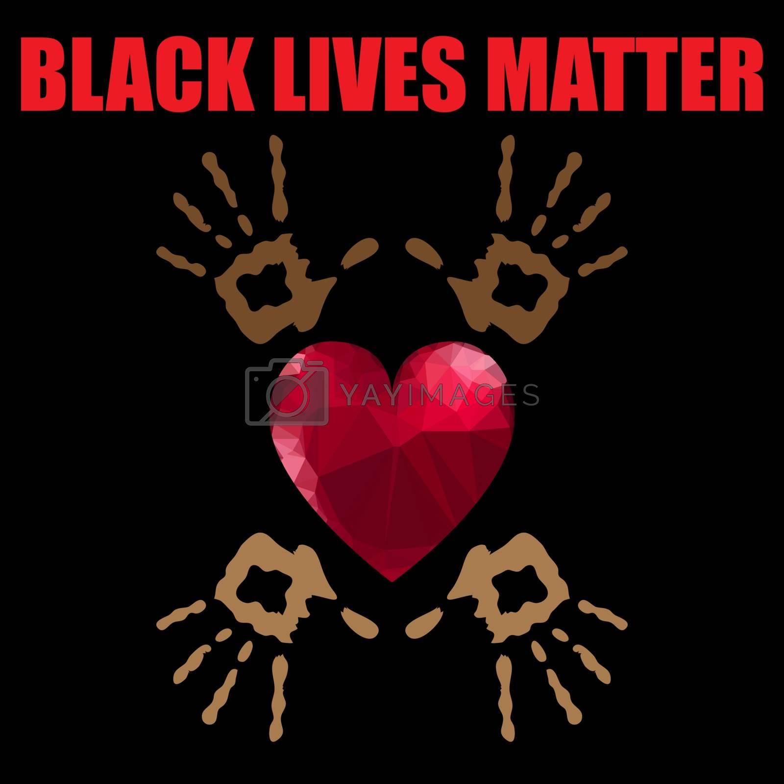 Black Lives Matter Banner with Red Heart for Protest on Black Background.