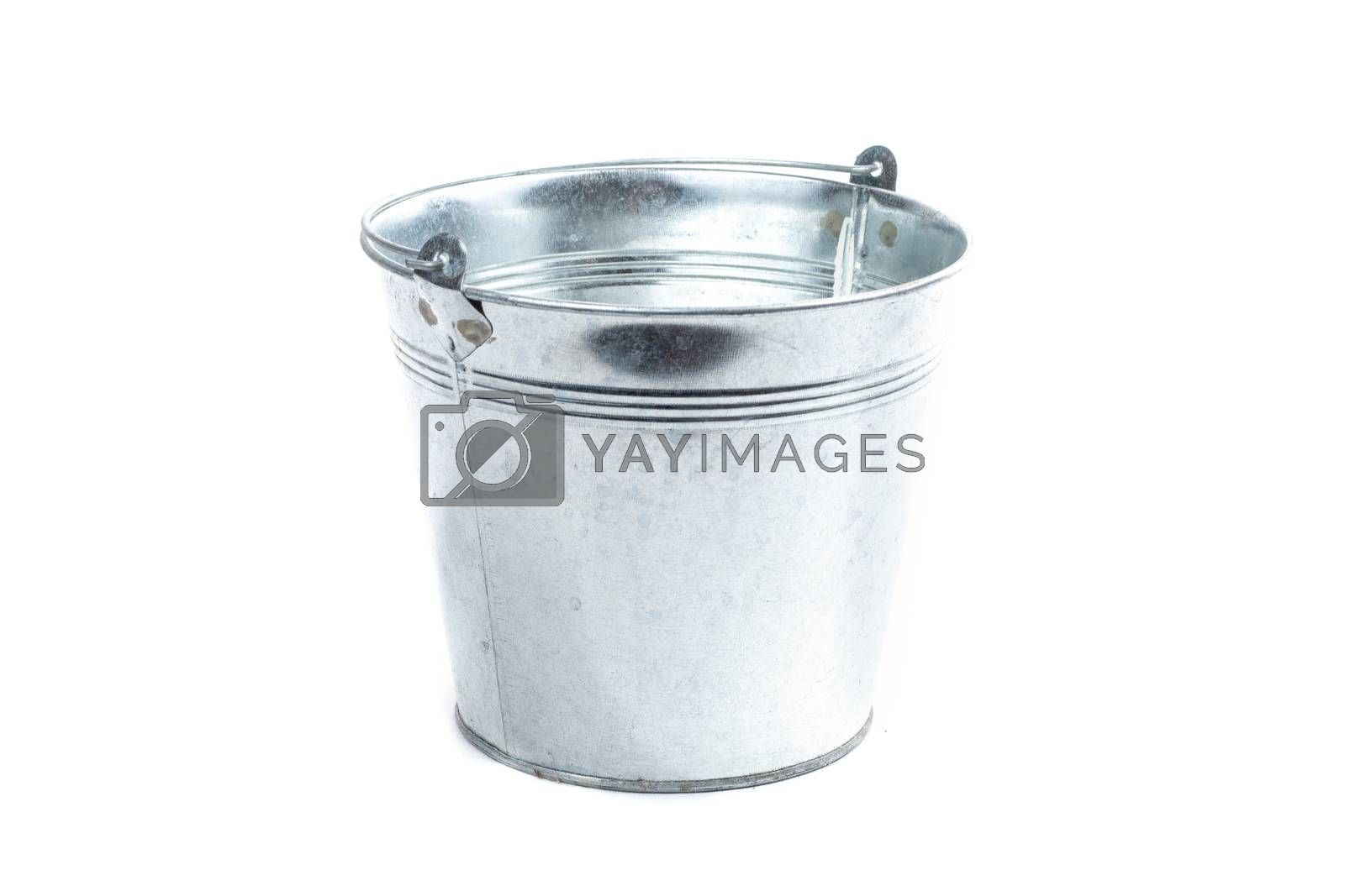 gray metal bucket on a white background in studio