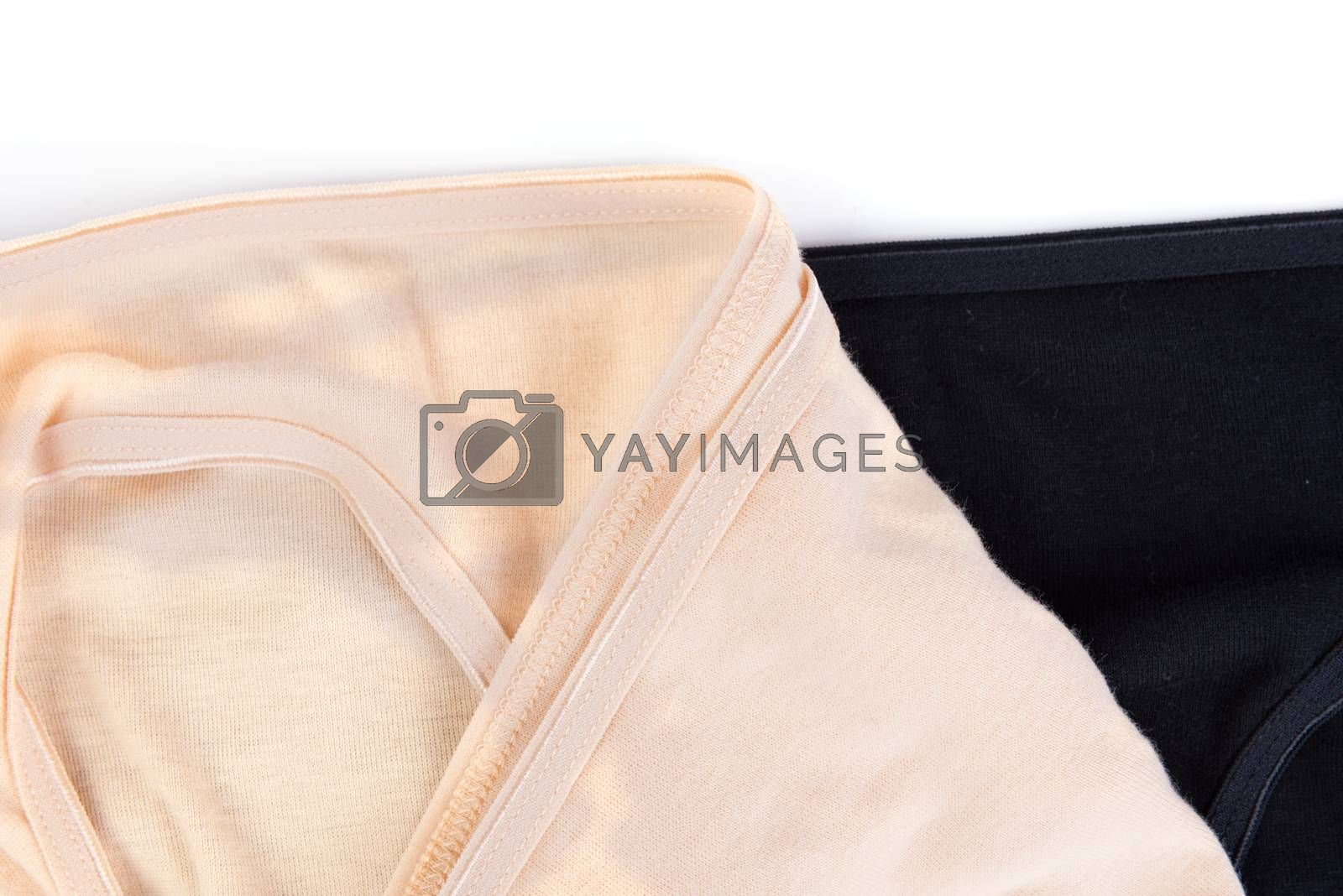 Pack of simple women's cotton panties isolated on white