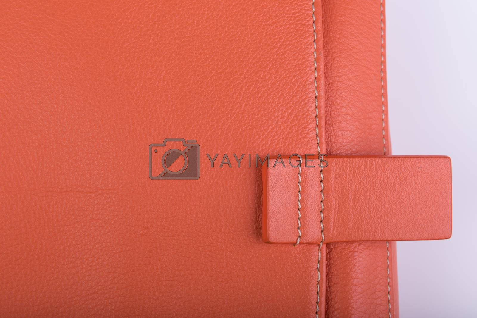 Close up orange leather bag