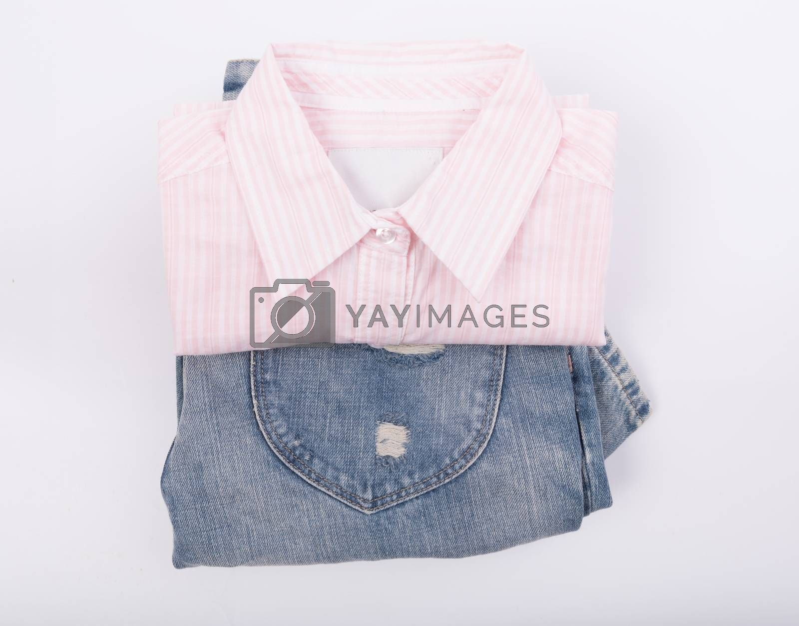Pink shirt and blue jean  on white