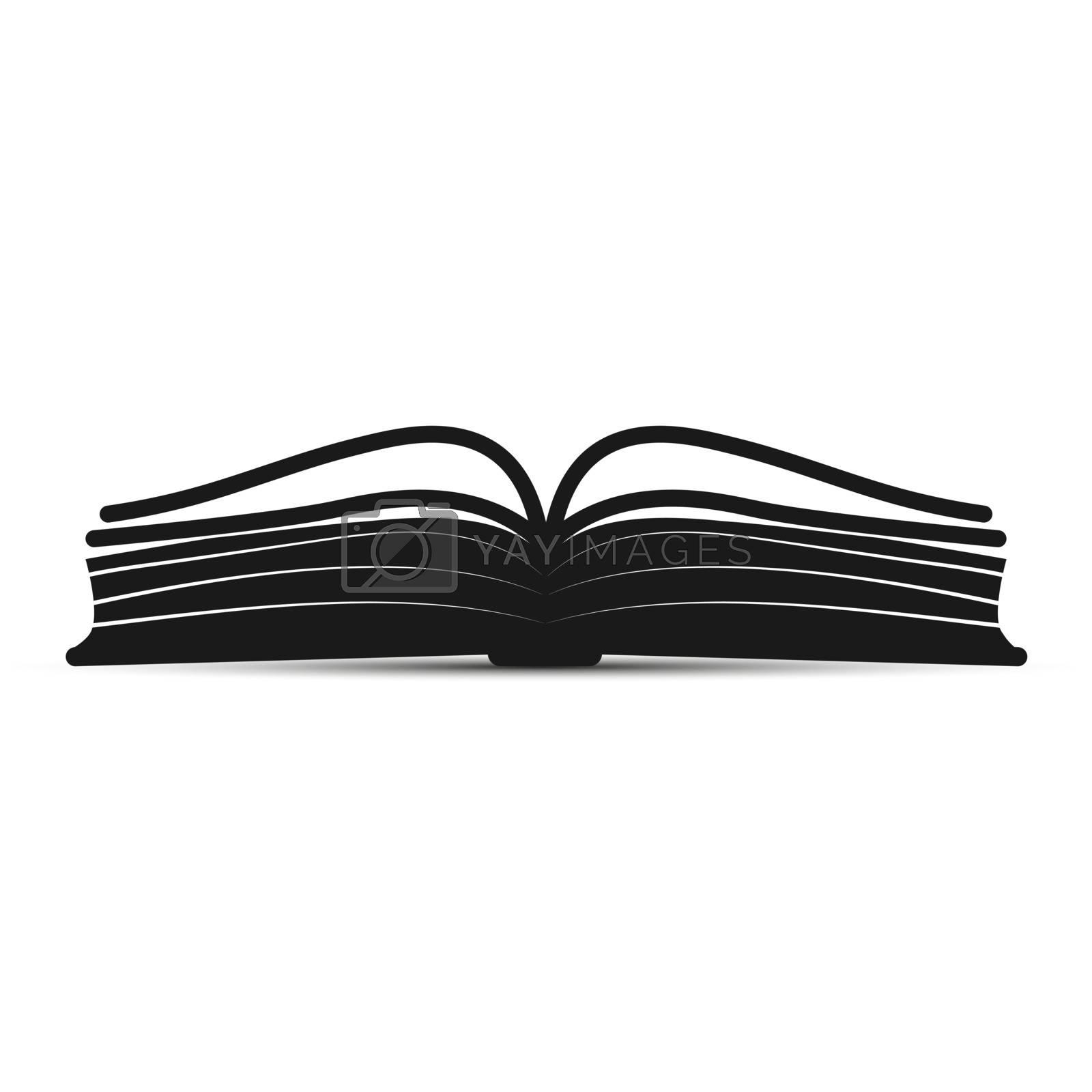 simple silhouette open book icon for web design
