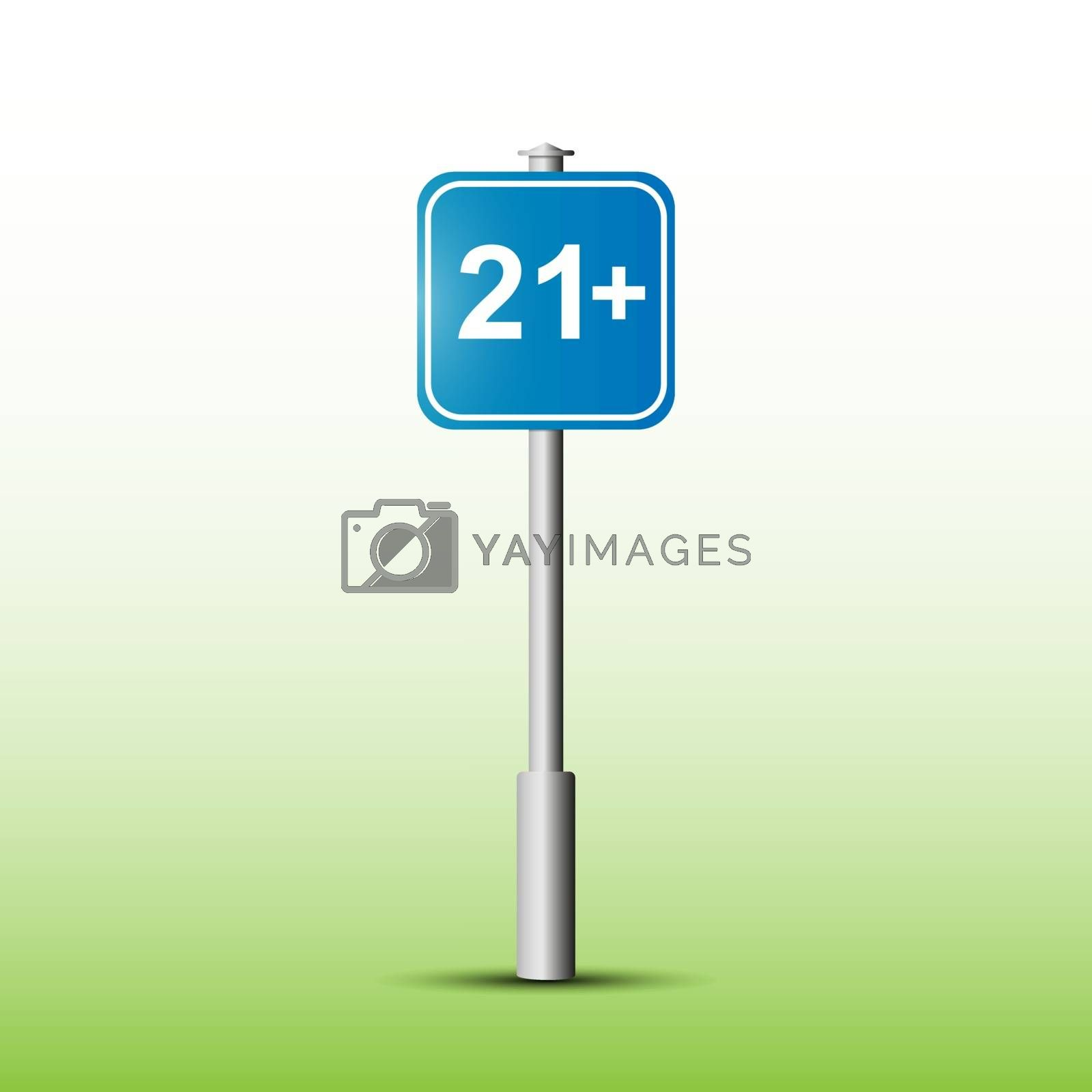 Information sign with the designation Age limit 21+