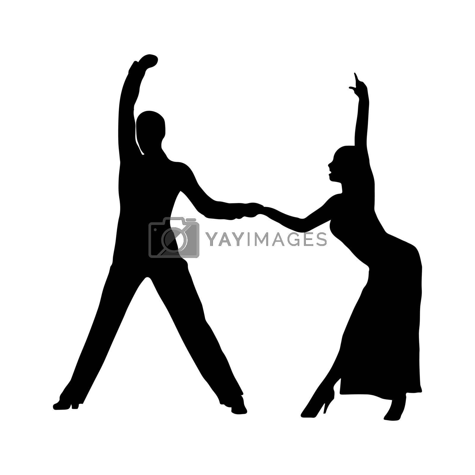 Ballroom and sports dances, contour silhouette of a couple of dancers