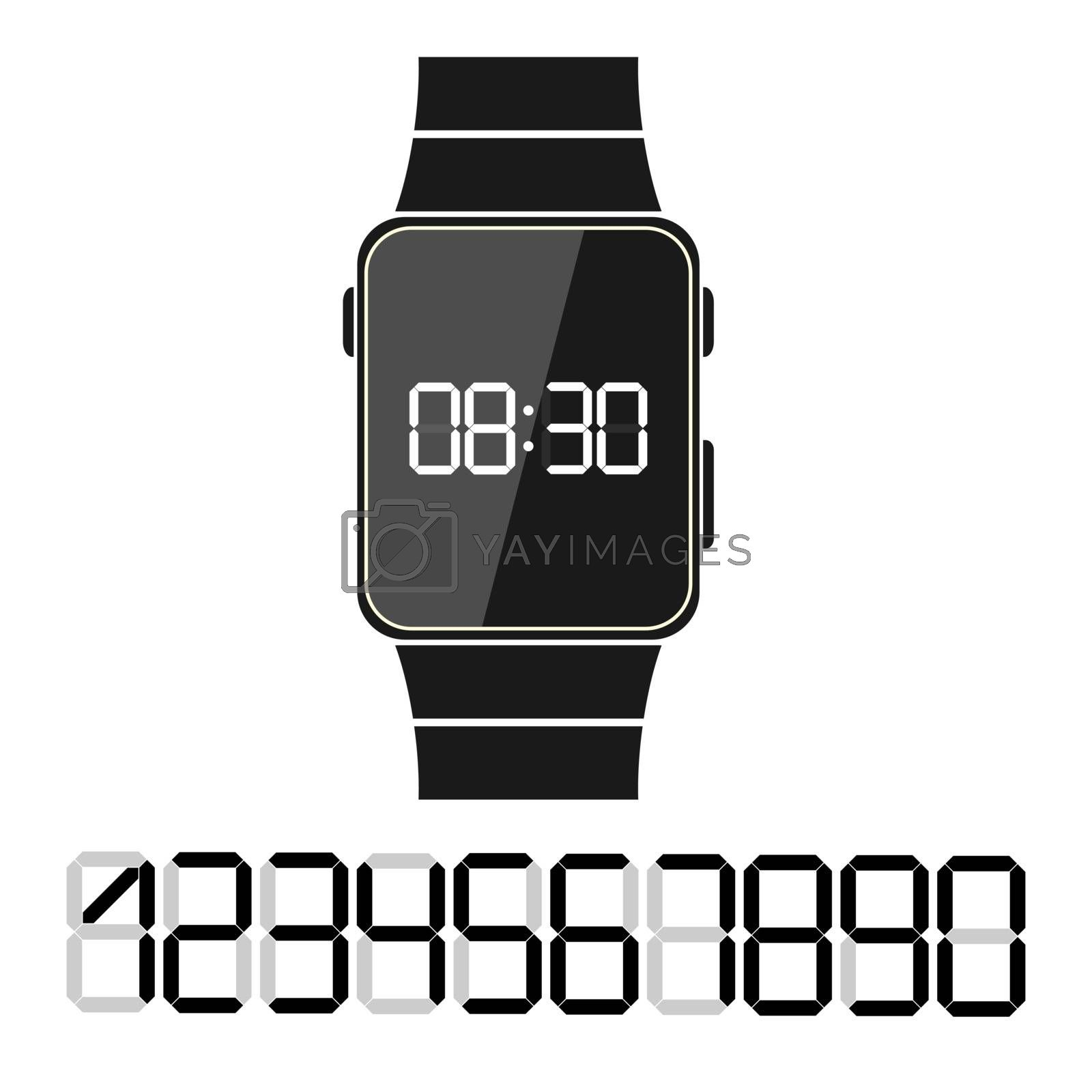 Flat pattern, Electronic clock with a set of numbers to design your time
