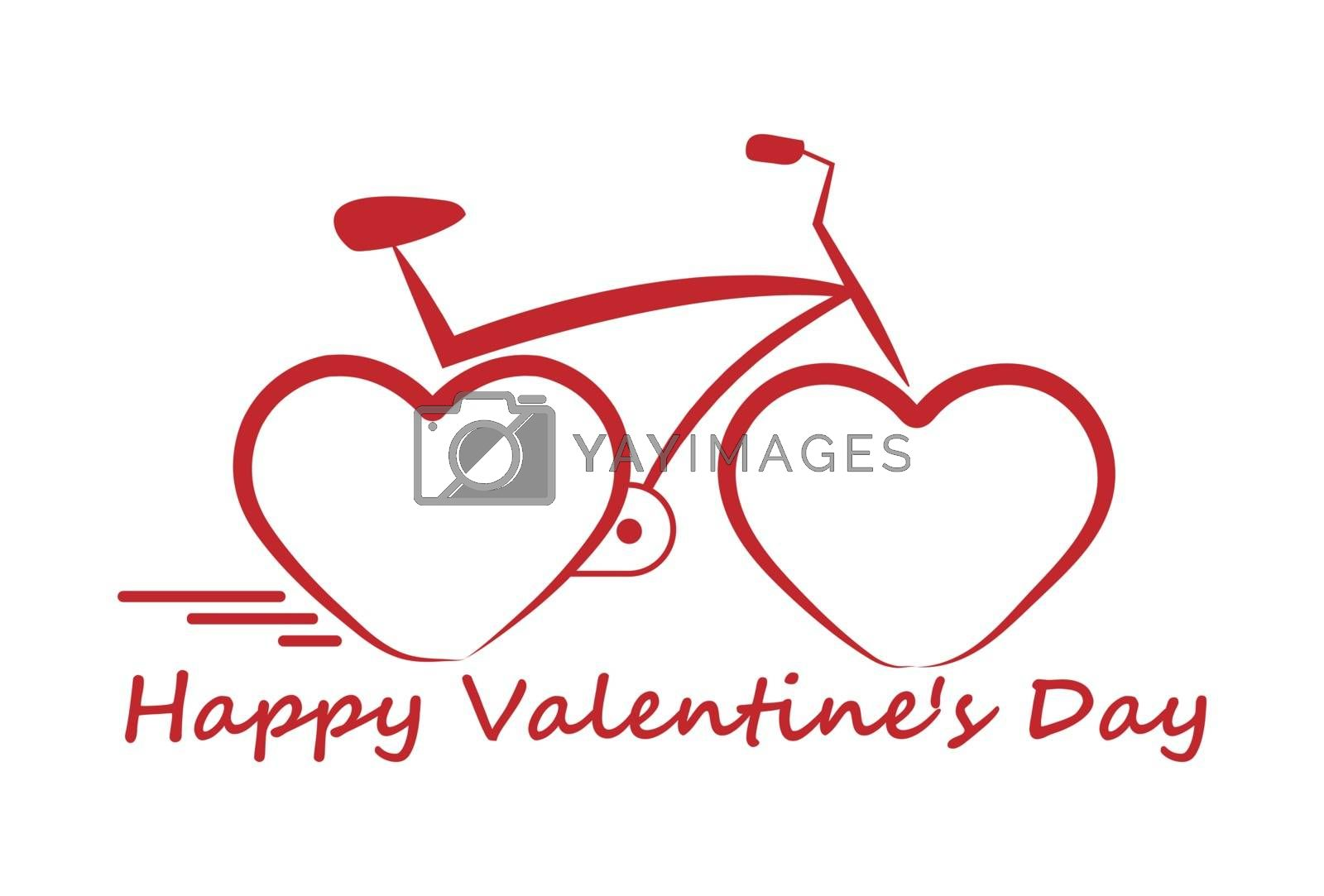 Bicycle with hearts instead of wheels, Valentine's Day.