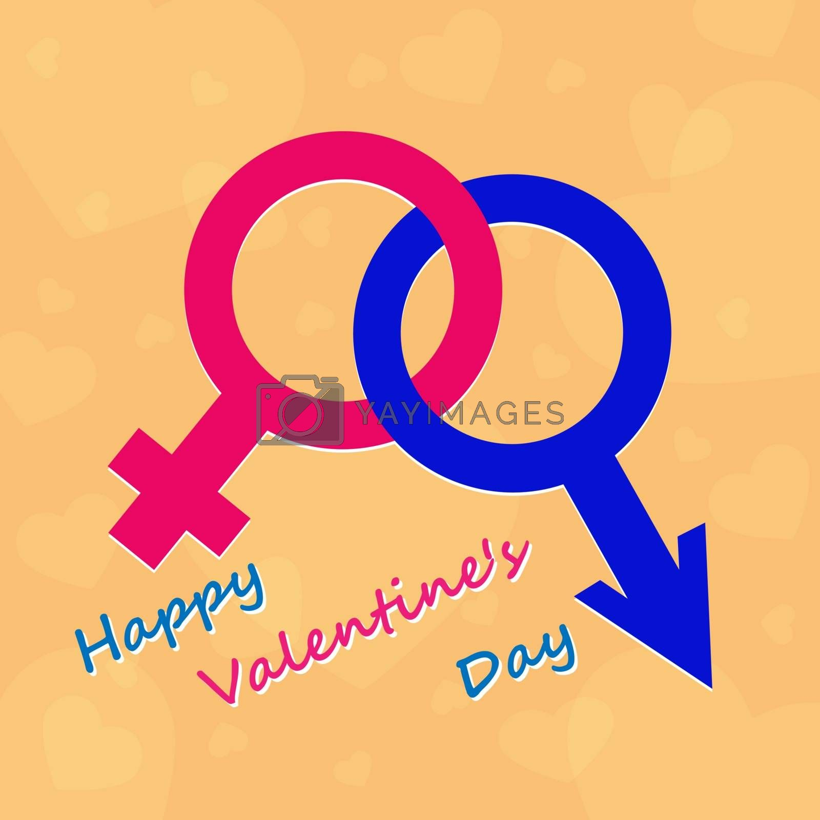 Valentine's Day. Male and female beginning with congratulations
