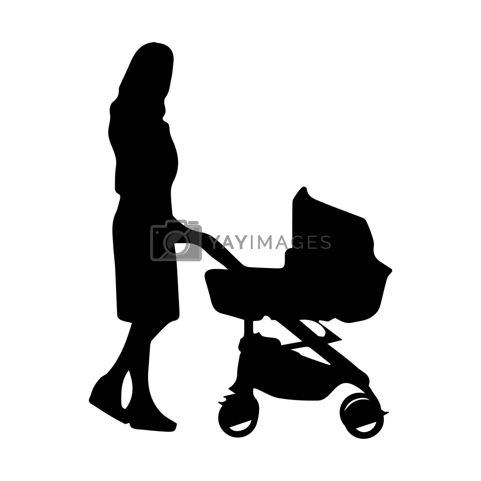 Woman with a baby carriage, simple silhouette drawing