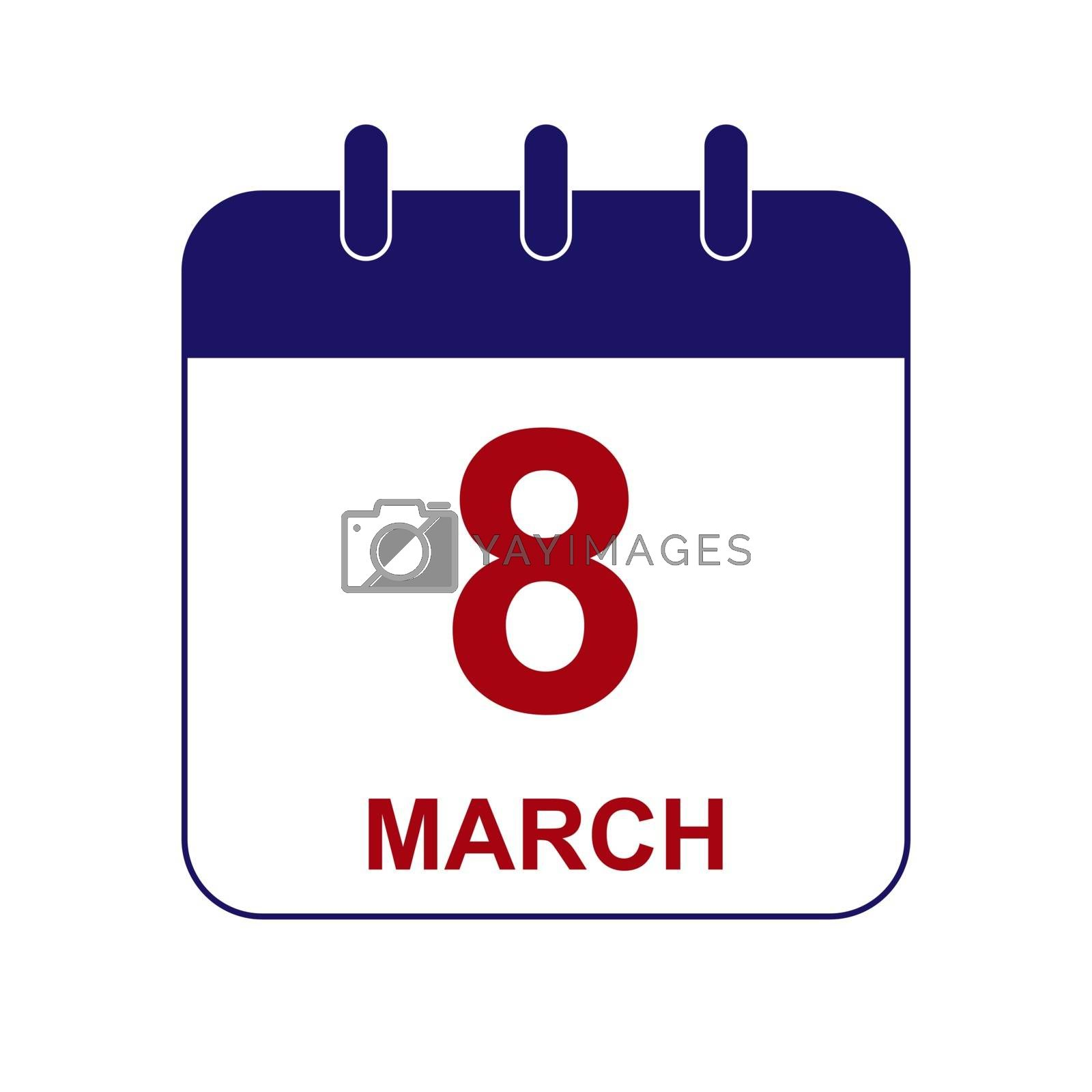 Sheet calendar with the date of March 8, International Women's Day