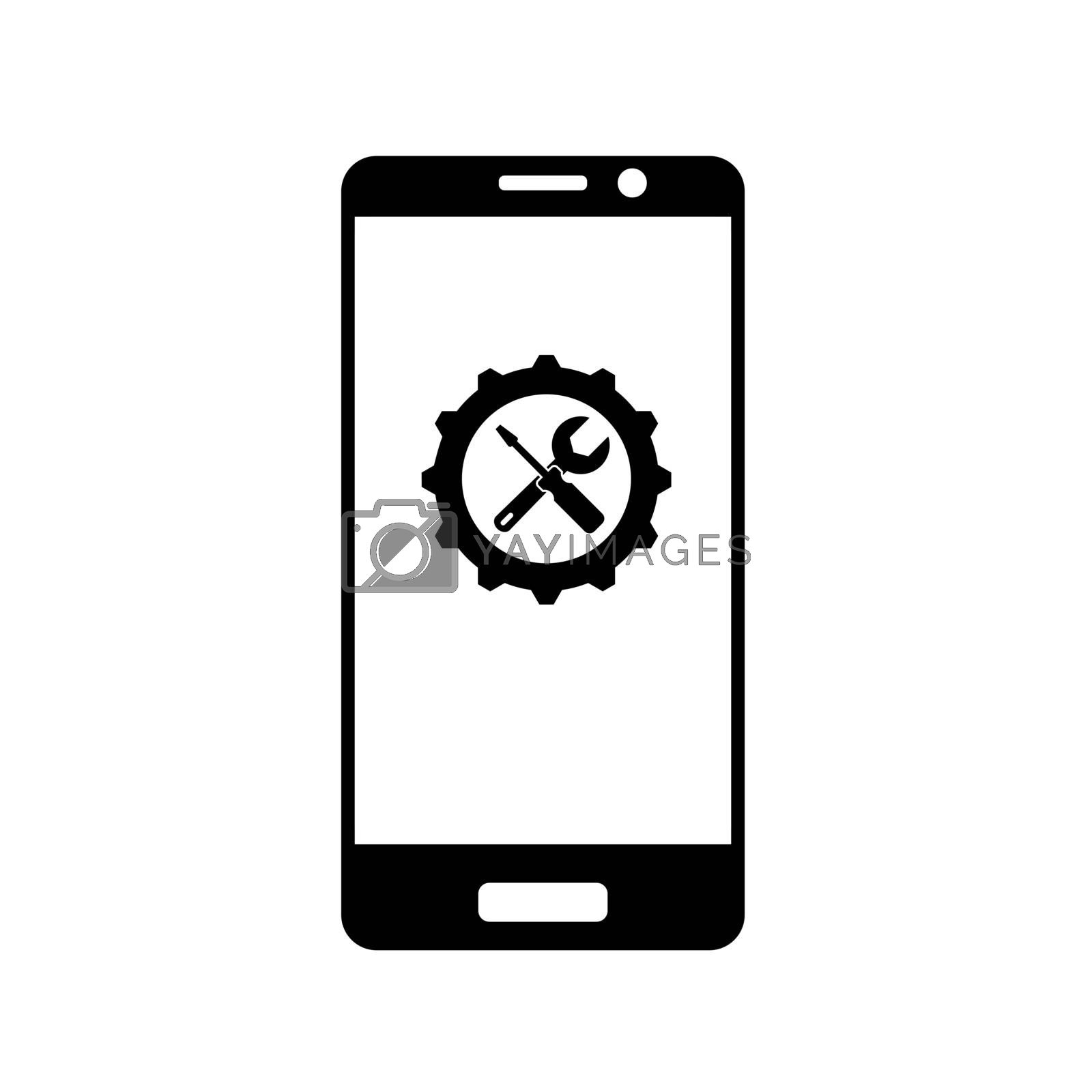 Gear with a key and a screwdriver on the smartphone screen, flat icon