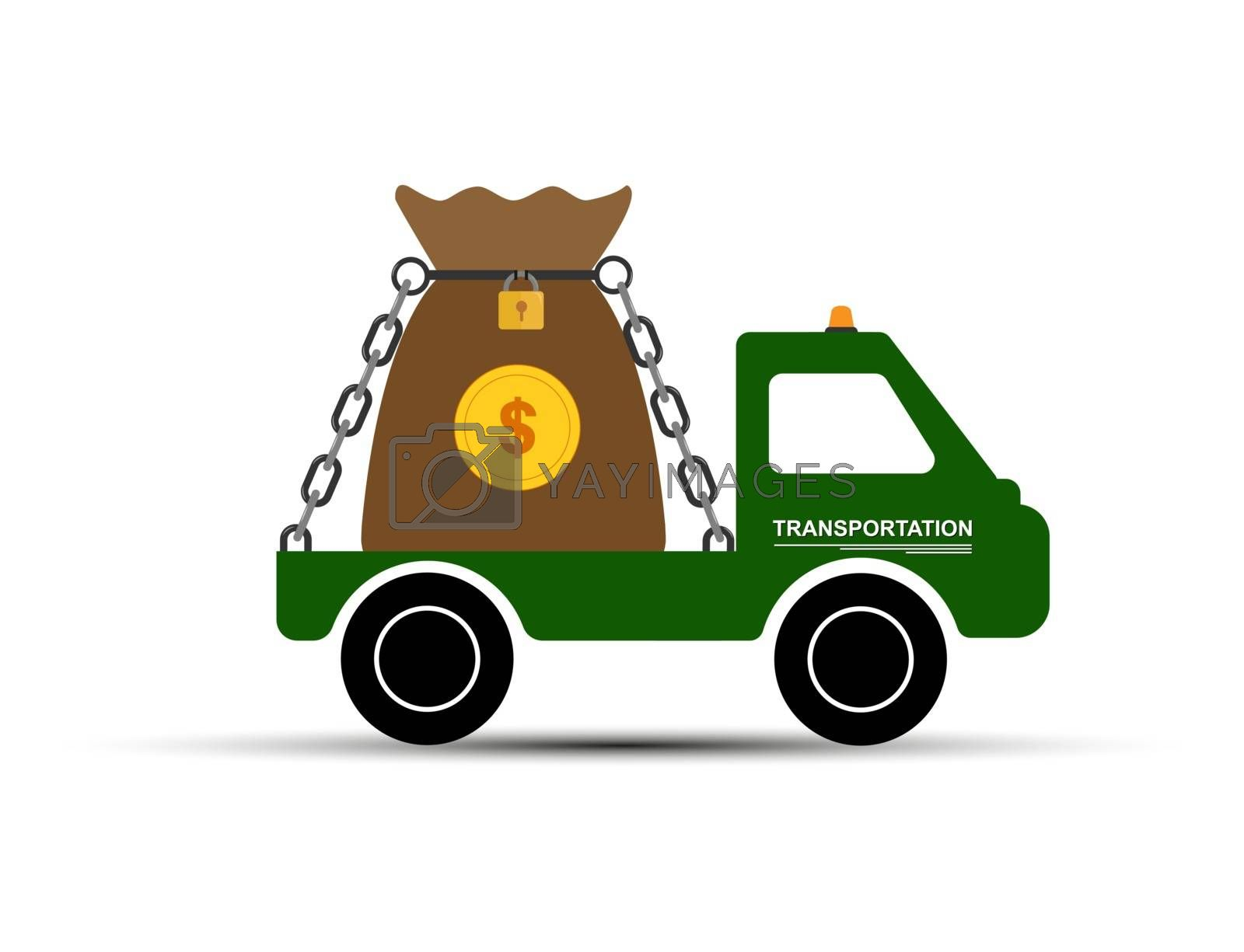 car carries a bag of money, simple drawing