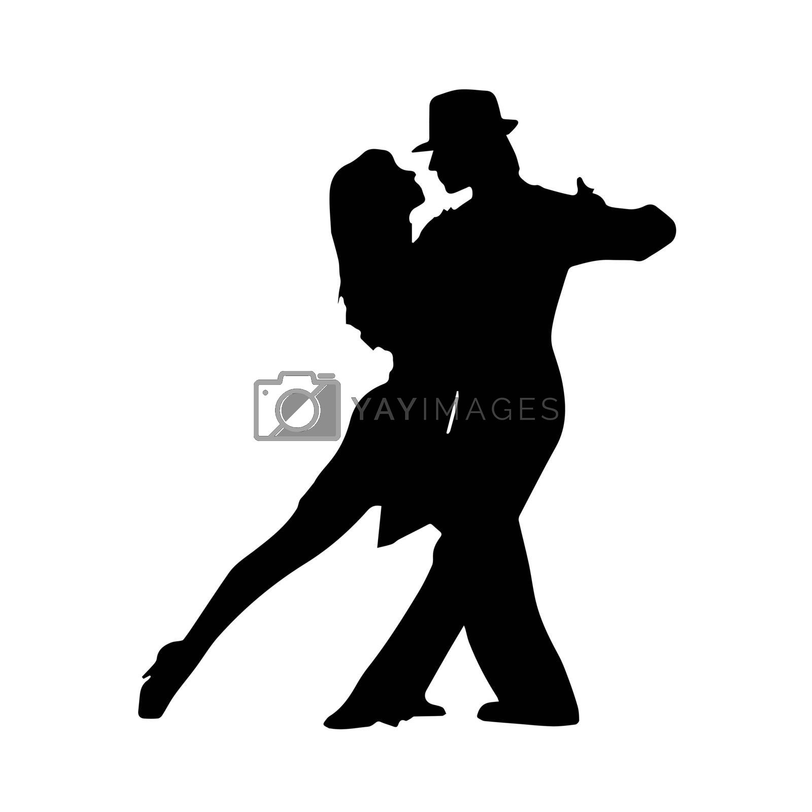 Silhouette of a pair of dancers, a couple dancing tango