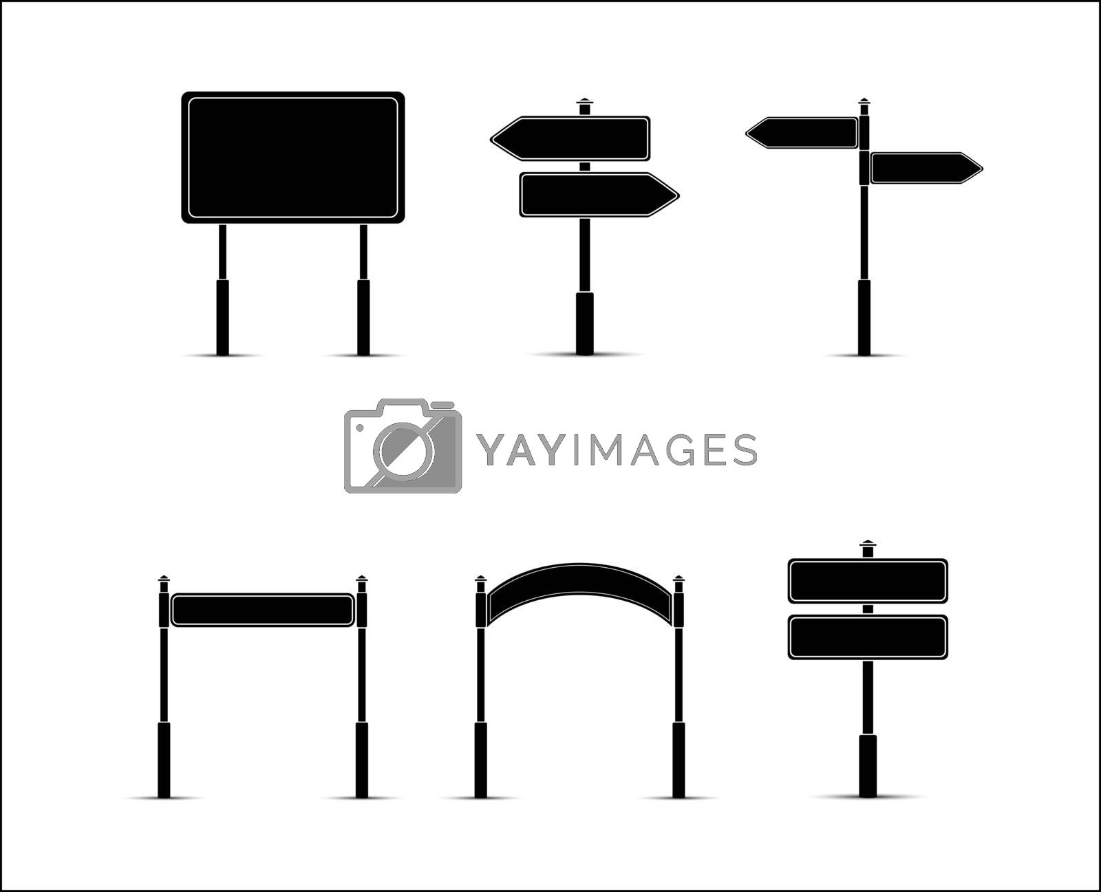 Set of templates for design and decoration of road signs, banners and signs