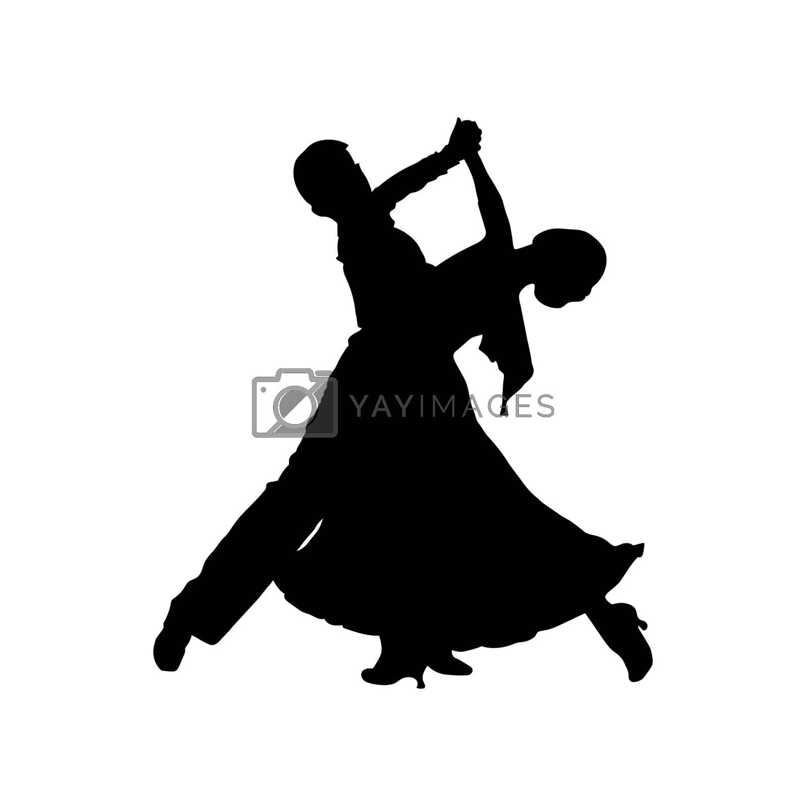 Couple dancing tango, silhouette of couple dancers