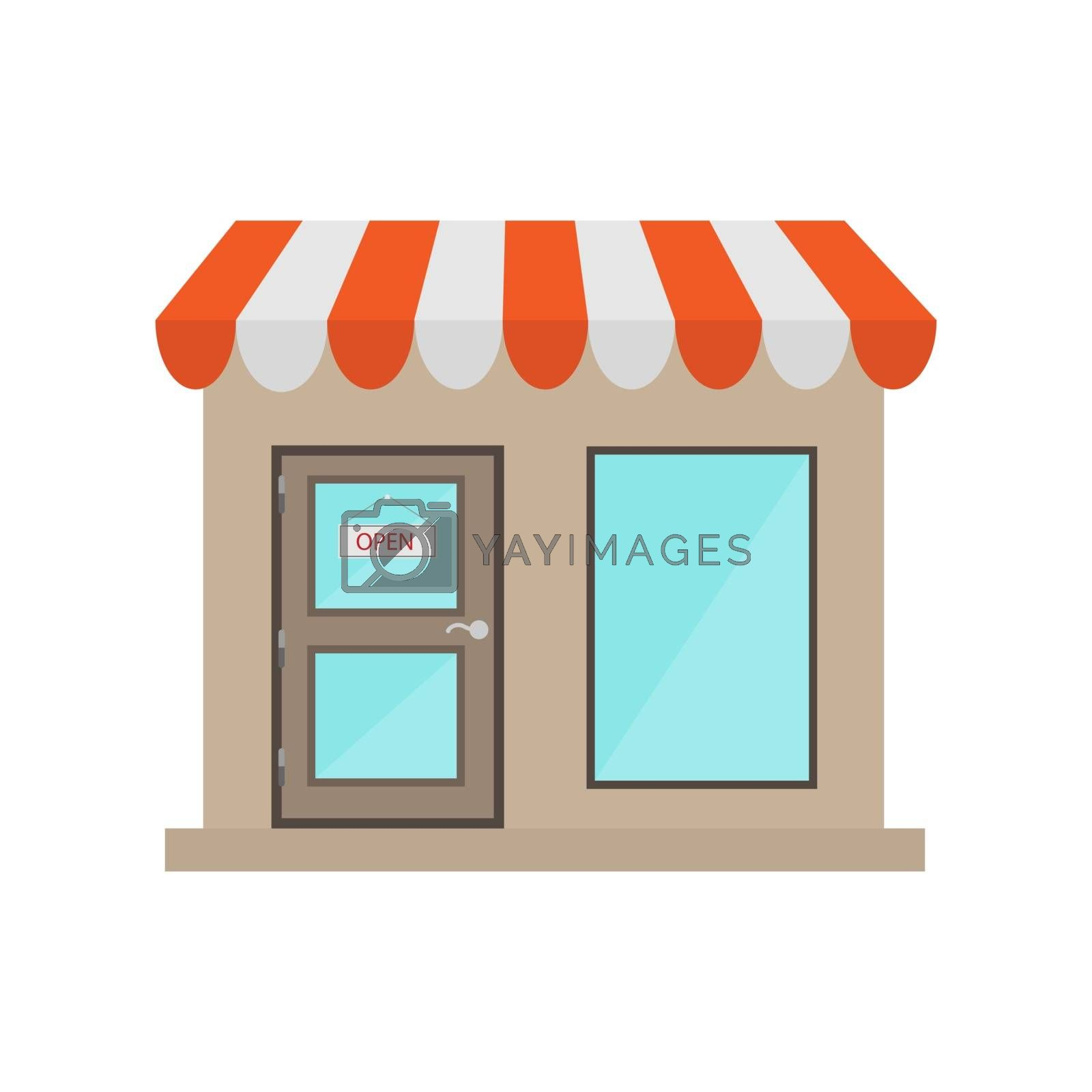 On the door of the store hangs a sign open, e-Commerce