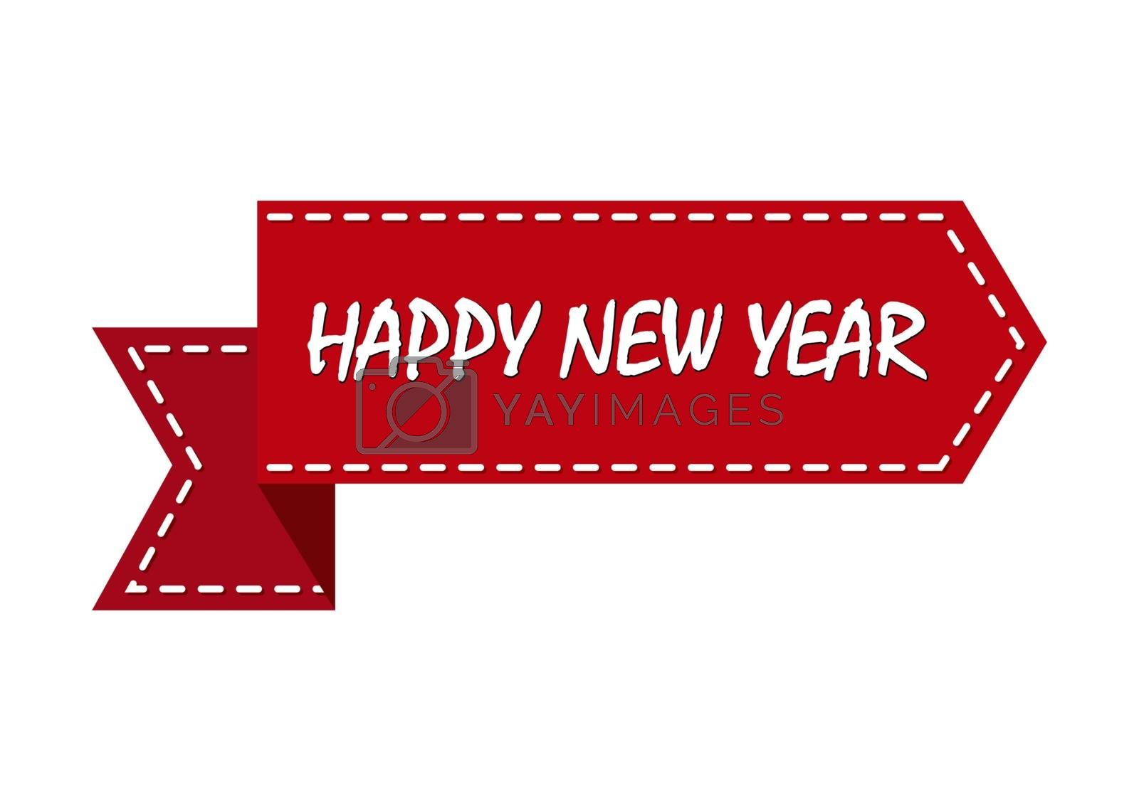 Christmas greeting, red ribbon with the words Happy New Year