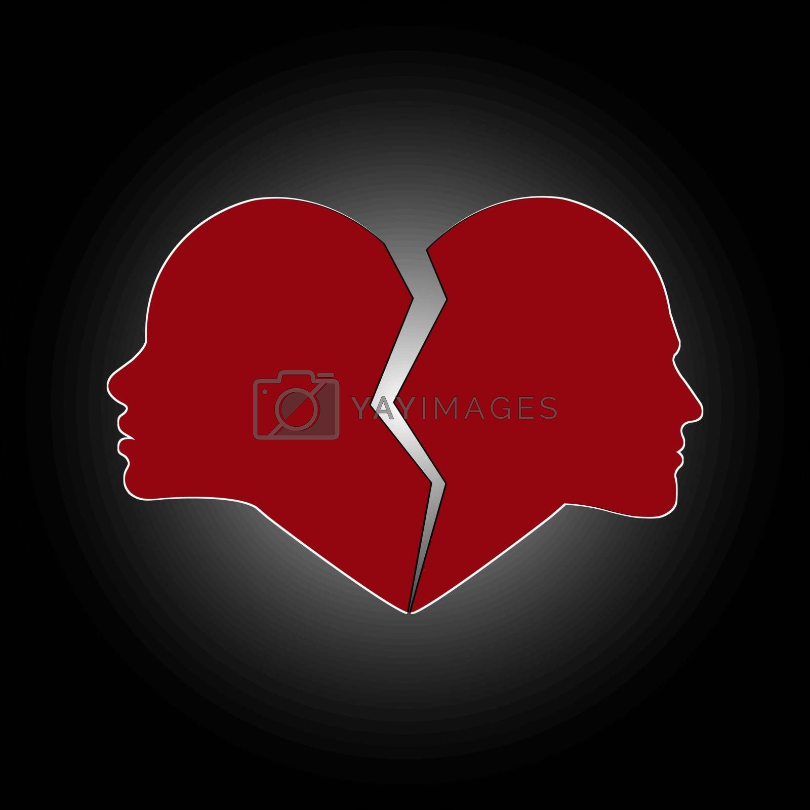Broken heart with a profile of a female and male face